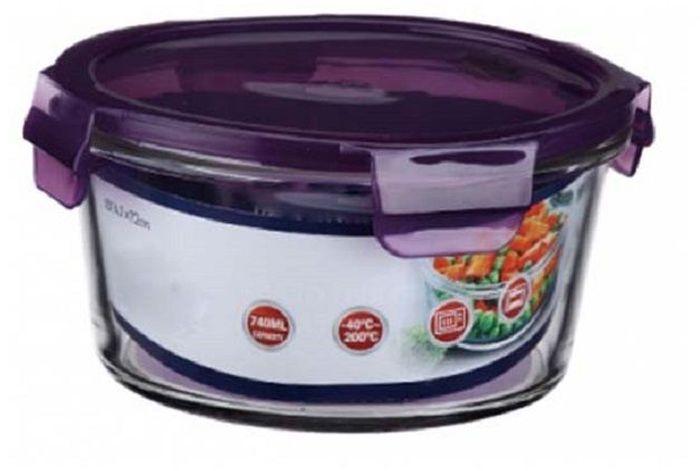 Контейнер пищевой Elff Decor, цвет: фиолетовый, 740 мл1407-135Контейнер для продуктов Elff Decor с вакуумной крышкой предназначен для хранения и запекания. Изготовлен из жаропрочного стекла.Температурный режим: -40°С до 200°С.Размер: 14,7 х 7,2 см.
