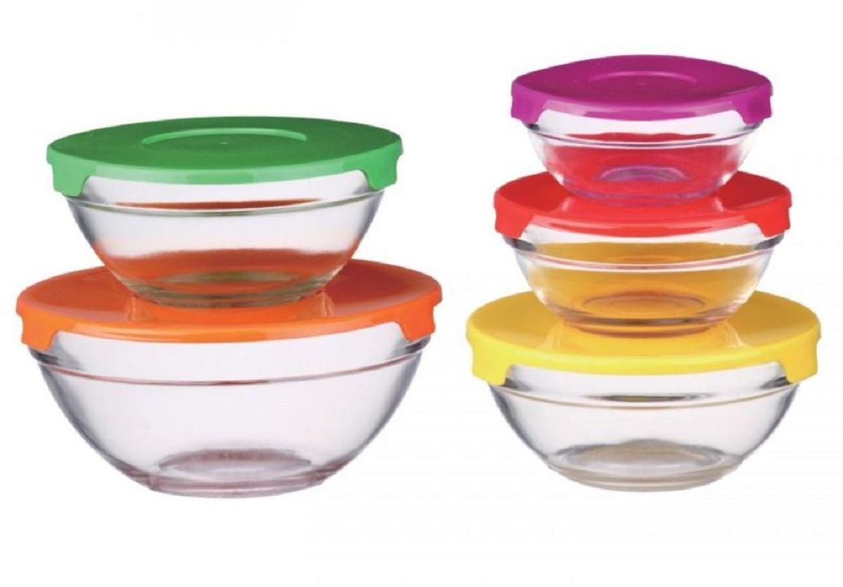 Набор контейнеров Elff Decor, 5 шт1407-261Набор стеклянных контейнеров из 10 предметов (контейнер+крышка) Изготовлен из термостойкого стекла (выдерживают охлаждения в морозильной камере) Плотно прилегающие крышки из термостойкого пластика Пригодны для хранения в холодильнике, для мытья в посудомоечной машине, а т.ж. для микроволновой печи d.: 9,0x3,5 см 150 мл 10,5x4,5 см 200 мл 12,5x5,0 см 310 мл 14,0x5,5 см 410 мл 17,0x7,0 см 900 мл
