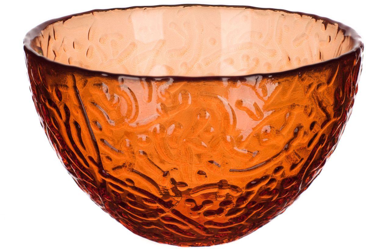 Салатник Elff Decor Терра, цвет: оранжевый, диаметр 12 см2300-1109Салатник Elff Decor выполнен из высококачественного цветного стекла. Салатник дополнит повседневную или праздничную сервировку стола.