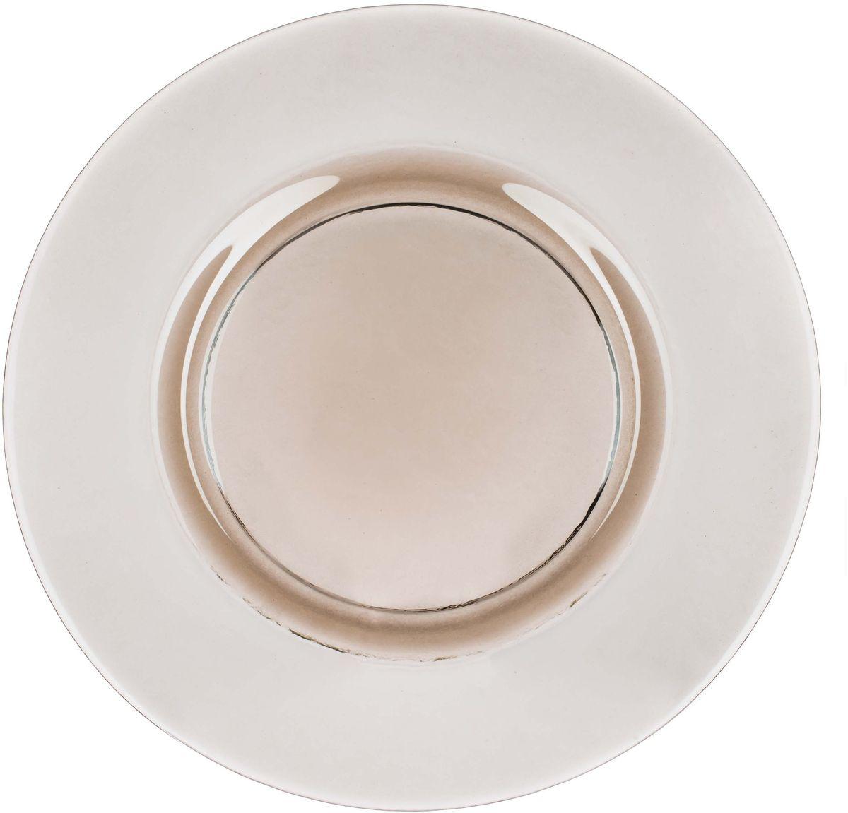 Тарелка Elff Decor Оливия, цвет: оливковый, прозрачный, диаметр 32,5 см2300-979Тарелка прозрачнаяиз стекла, дополнит повседневную или праздничную сервировкустола.