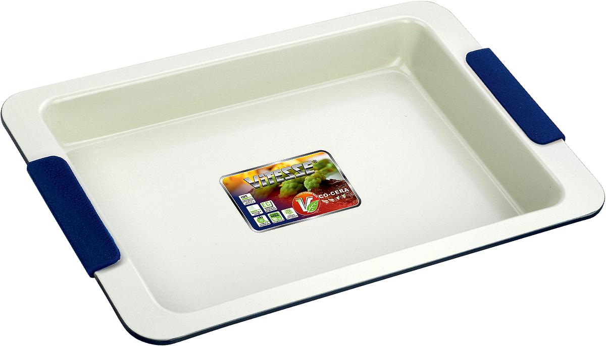 Форма для выпечки Vitesse, цвет: синий, 33 х 23 см VS-1966VS-1966Прямоугольная форма для выпечки Vitesse изготовлена из высококачественной углеродистой стали. Внутреннее керамическое покрытие Eco-Cera светло-серого цвета, позволяющее готовить при температуре 220°С, не оставляет послевкусия, делает возможным приготовление блюд без масла, сохраняет витамины и питательные вещества. Такое покрытие абсолютно безопасно для здоровья человека и окружающей среды, так как не содержит вредной примеси PFOA и имеет низкое содержание CO в выбросах при производстве. Керамическое покрытие обладает высокой прочностью и устойчивостью к царапинам. Кроме того, с таким покрытием пища не пригорает и не прилипает к стенкам. Готовить можно с минимальным количеством подсолнечного масла. Высокотехнологичное внешнее покрытие, подвергшееся температурной обработке, устойчиво к механическим повреждениям. Удобные ручки оснащены съемными силиконовыми вставками. Простая в уходе и долговечная в использовании форма Vitesse будет верной помощницей в создании ваших кулинарных шедевров.Можно мыть в посудомоечной машине и использовать в духовке. Не предназначена для СВЧ-печей. Характеристики:Материал: углеродистая сталь, силикон. Цвет: синий, светло-серый. Внутренний размер формы: 33 см х 23 см. Размер формы (с учетом ручек): 26,5 см х 40 см. Высота стенки: 4 см. Толщина стенки: 0,6 см.