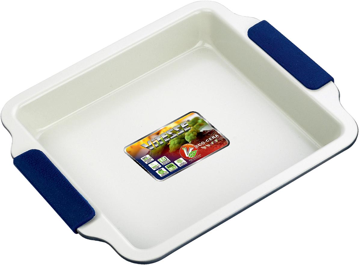 Форма для выпечки Vitesse, цвет: синий, 23 х 23 см VS-1968VS-1968Квадратная форма для выпечки Vitesse изготовлена из высококачественной углеродистой стали. Внутреннее керамическое покрытие Eco-Cera светло-серого цвета, позволяющее готовить при температуре 220°С, не оставляет послевкусия, делает возможным приготовление блюд без масла, сохраняет витамины и питательные вещества. Такое покрытие абсолютно безопасно для здоровья человека и окружающей среды, так как не содержит вредной примеси PFOA и имеет низкое содержание CO в выбросах при производстве. Керамическое покрытие обладает высокой прочностью и устойчивостью к царапинам. Кроме того, с таким покрытием пища не пригорает и не прилипает к стенкам. Готовить можно с минимальным количеством подсолнечного масла. Высокотехнологичное внешнее покрытие, подвергшееся температурной обработке, устойчиво к механическим повреждениям. Удобные ручки оснащены съемными силиконовыми вставками. Простая в уходе и долговечная в использовании форма Vitesse будет верной помощницей в создании ваших кулинарных шедевров.Можно мыть в посудомоечной машине и использовать в духовке. Не предназначена для СВЧ-печей. Характеристики:Материал: углеродистая сталь, силикон. Цвет: синий, светло-серый. Внутренний размер формы: 23 см х 23 см. Размер формы (с учетом ручек): 26,5 см х 30 см. Высота стенки: 3,5 см. Толщина стенки: 0,6 см.