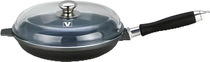 Сковорода Vitesse Le Prestige с крышкой, с керамическим покрытием, со съемной ручкой, цвет: серый. Диаметр 24 смVS-2271Сковорода Vitesse Le Prestige изготовлена из высококачественного алюминия методом литья под давлением. Внутреннее керамическое покрытие Eco-Cera, позволяющее готовить при высоких температурах, не оставляет послевкусия, делает возможным приготовление блюд без масла, сохраняет витамины и питательные вещества. Покрытие коричневого цвета устойчиво к царапинам и механическим повреждениям. Покрытие безопасно для человека, не содержит PFOA.Внешняя поверхность сковороды отделана элегантным цветным покрытием, подвергшимся высокотемпературной обработке. Дно сковороды снабжено антидеформационным индукционным диском. Сковорода быстро разогревается, распределяя тепло по всей поверхности, что позволяет готовить в энергосберегающем режиме, значительно сокращая время, проведенное у плиты.Сковорода оснащена съемной ручкой из бакелита с покрытием Soft-touch.Крышка из термостойкого стекла позволит следить за процессом приготовления пищи без потери тепла. Она плотно прилегает к краям сковороды, сохраняя аромат блюд. Сковорода Vitesse Le Prestige подходит для использования на всех типах кухонных плит, включая индукционные. Можно мыть в посудомоечной машине. Характеристики:Материал: литой алюминий, бакелит, нержавеющая сталь 18/10, стекло. Цвет: серый. Внутренний диаметр сковороды: 24 см. Высота стенки сковороды: 5 см. Толщина стенки: 3 мм. Толщина дна: 5 мм. Длина ручки: 21 см. Диаметр индукционного диска: 14,5 см.Кухонная посуда марки Vitesse из нержавеющей стали 18/10 предоставит вам все необходимое для получения удовольствия от приготовления пищи и принесет радость от его результатов. Посуда Vitesse обладает выдающимися функциональными свойствами. Легкие в уходе кастрюли и сковородки имеют плотно закрывающиеся крышки, которые дают возможность готовить с малым количеством воды и экономией энергии, и идеально подходят для всех видов плит: газовых, электрических, стекло