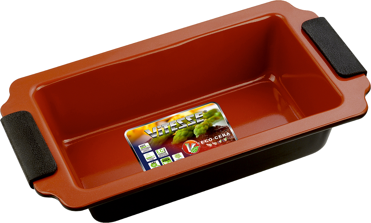 """Прямоугольная форма для выпечки """"Vitesse"""" изготовлена из высококачественной углеродистой стали. Внутреннее керамическое покрытие Eco-Cera, позволяющее готовить при температуре 220°С, не оставляет послевкусия, делает возможным приготовление блюд без масла, сохраняет витамины и питательные вещества. Покрытие безопасно для человека, не содержит PFOA. Высокотехнологичное внешнее антипригарное покрытие устойчиво к царапинам и механическим повреждениям. Удобные ручки оснащены съемными силиконовыми вставками.  Простая в уходе и долговечная в использовании форма """"Vitesse"""" будет верной помощницей в создании ваших кулинарных шедевров.   Можно мыть в посудомоечной машине. Характеристики:  Материал:  углеродистая сталь, силикон.   Цвет: коричневый.   Внутренний размер формы: 23 см х 13 см.   Размер формы (с учетом ручек):  30 см х 17 см.   Высота стенки:  7 см.   Толщина стенки:  0,8 мм.    Изготовитель: Китай.   Размер упаковки: 30 см х 17 см х 7 см.   Артикул: VS-2350.   Как выбрать форму для выпечки – статья на OZON Гид."""
