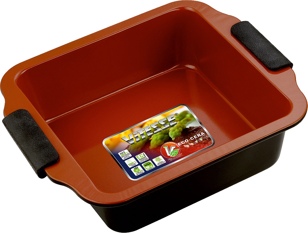 Форма для выпечки Vitesse, цвет: коричневый, 20 см х 20 смVS-2352Квадратная форма для выпечки Vitesse изготовлена из высококачественной углеродистой стали. Внутреннее керамическое покрытие Eco-Cera, позволяющее готовить при температуре 220°С, не оставляет послевкусия, делает возможным приготовление блюд без масла, сохраняет витамины и питательные вещества. Покрытие безопасно для человека, не содержит PFOA. Высокотехнологичное внешнее антипригарное покрытие устойчиво к царапинам и механическим повреждениям. Удобные ручки оснащены съемными силиконовыми вставками. Простая в уходе и долговечная в использовании форма Vitesse будет верной помощницей в создании ваших кулинарных шедевров.Можно мыть в посудомоечной машине. Характеристики:Материал:углеродистая сталь, силикон. Цвет: коричневый. Внутренний размер формы: 20 см х 20 см. Размер формы (с учетом ручек):26 см х 23 см. Высота стенки:7 см.Изготовитель: Китай. Размер упаковки: 26 см х 23 см х 7 см. Артикул: VS-2352.