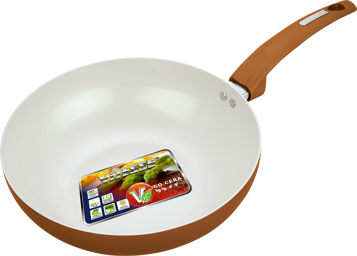 Сковорода-вок Vitesse, с керамическим покрытием, цвет: коричневый. Диаметр 28 см. VS-7414VS-7414Сковорода-вок Vitesse изготовлена из высококачественного алюминия. Наружное цветное термостойкое покрытие обеспечивает легкую чистку. Внутреннее керамическое покрытие Eco-Cera белого цвета абсолютно безопасно для здоровья человека и окружающей среды, так как не содержит вредной примеси PFOA и имеет низкое содержание CO в выбросах при производстве. Керамическое покрытие обладает высокой прочностью, что позволяет готовить при температуре до 450°С и использовать металлические лопатки. Кроме того, с таким покрытием пища не пригорает и не прилипает к стенкам. Готовить можно с минимальным количеством подсолнечного масла. Сковорода оснащена бакелитовой высокопрочной ненагревающейся ручкой удобной формы. Можно использовать на газовых, электрических, стеклокерамических, галогенных, чугунных конфорках. Можно мыть в посудомоечной машине.Изделие можно мыть в посудомоечной машине.Диаметр по верхнему краю: 28 см.Высота стенки: 8 см. Объем: 3 л. Толщина стенок: 2,5 мм.