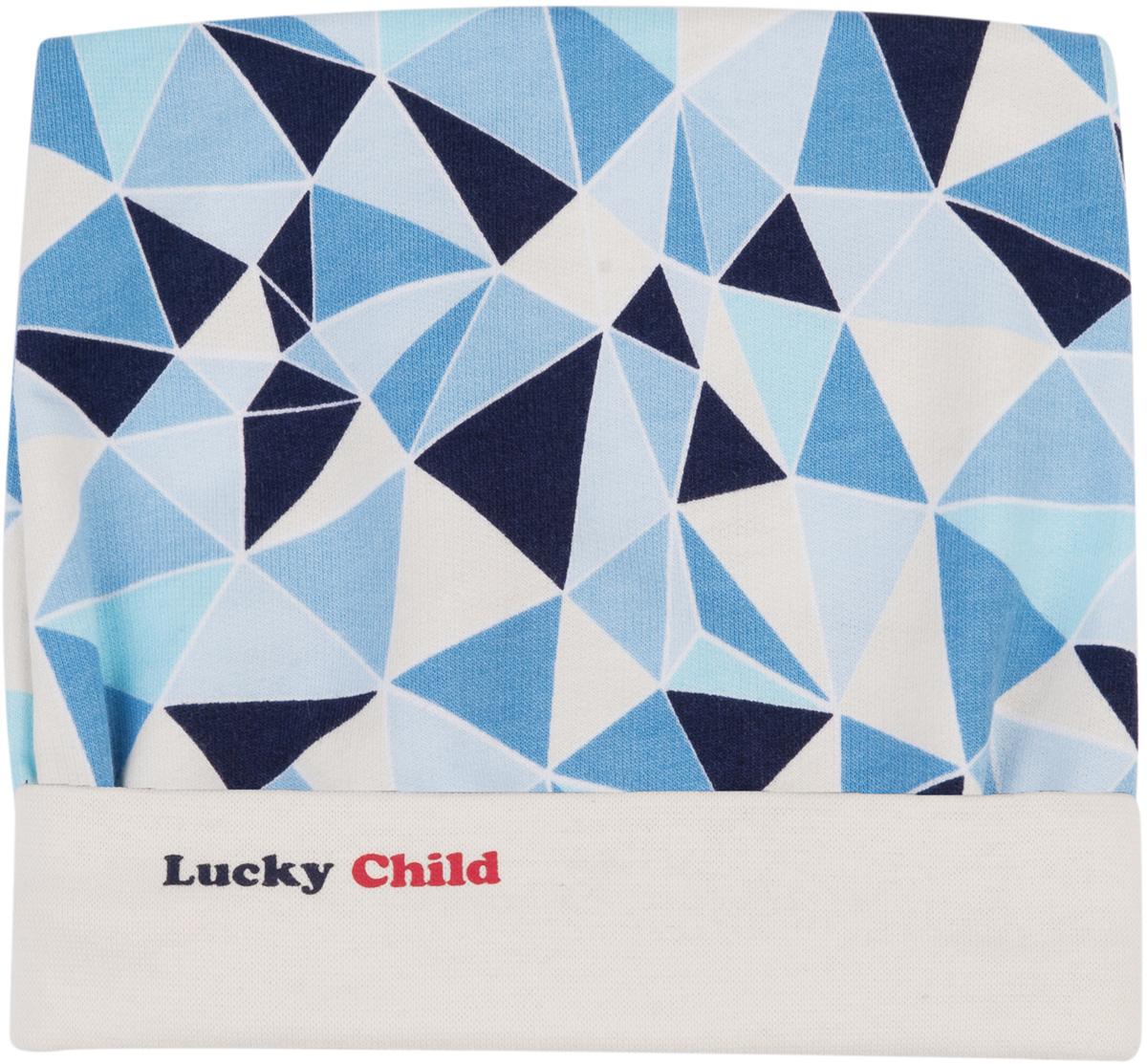 Шапочка для мальчика Lucky Child, цвет: голубой, синий. 32-9. Размер 4232-9Шапочка выполнена из мягкого интерлока высшего качества, благодаря этому она будет держать форму и не выцветать. Резиночки этой модели хорошо прилегают к личику малыша и обеспечивают защиту ушек от ветра и холода.