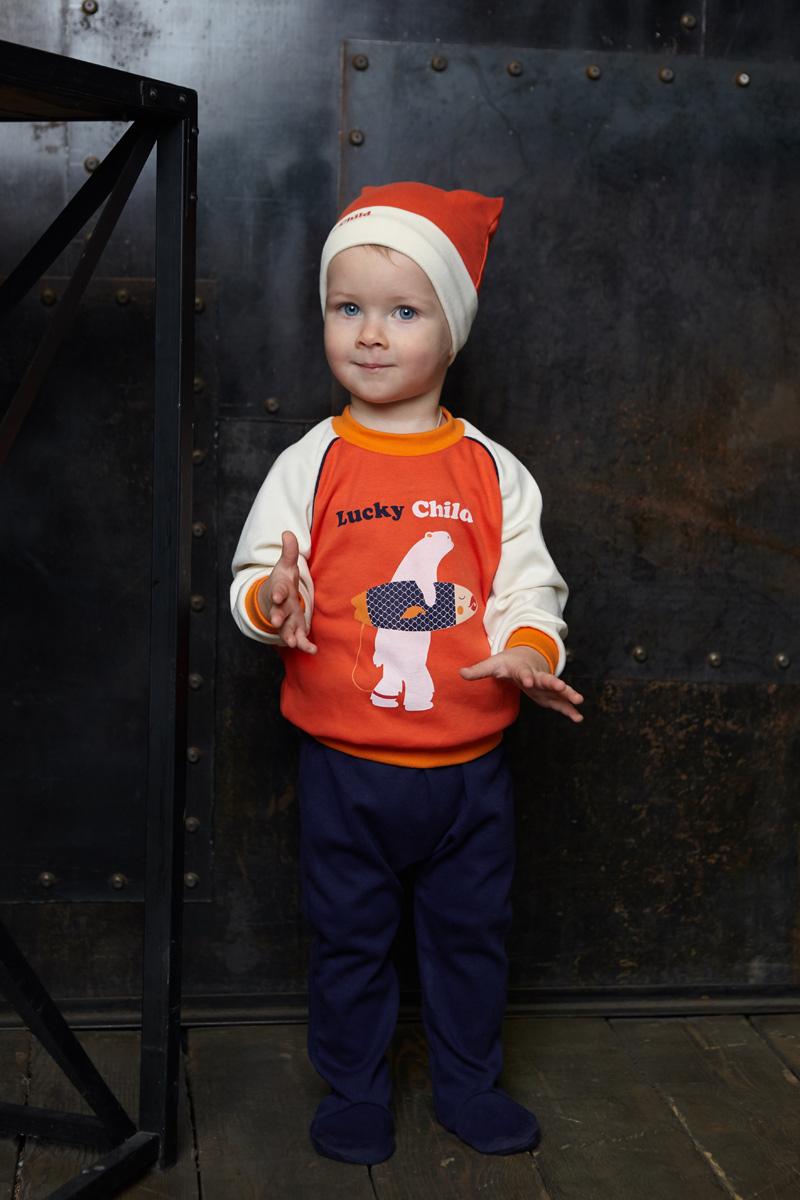 Шапочка для мальчика Lucky Child, цвет: коралловый. 32-9ф. Размер 47 пижамы lucky child пижама