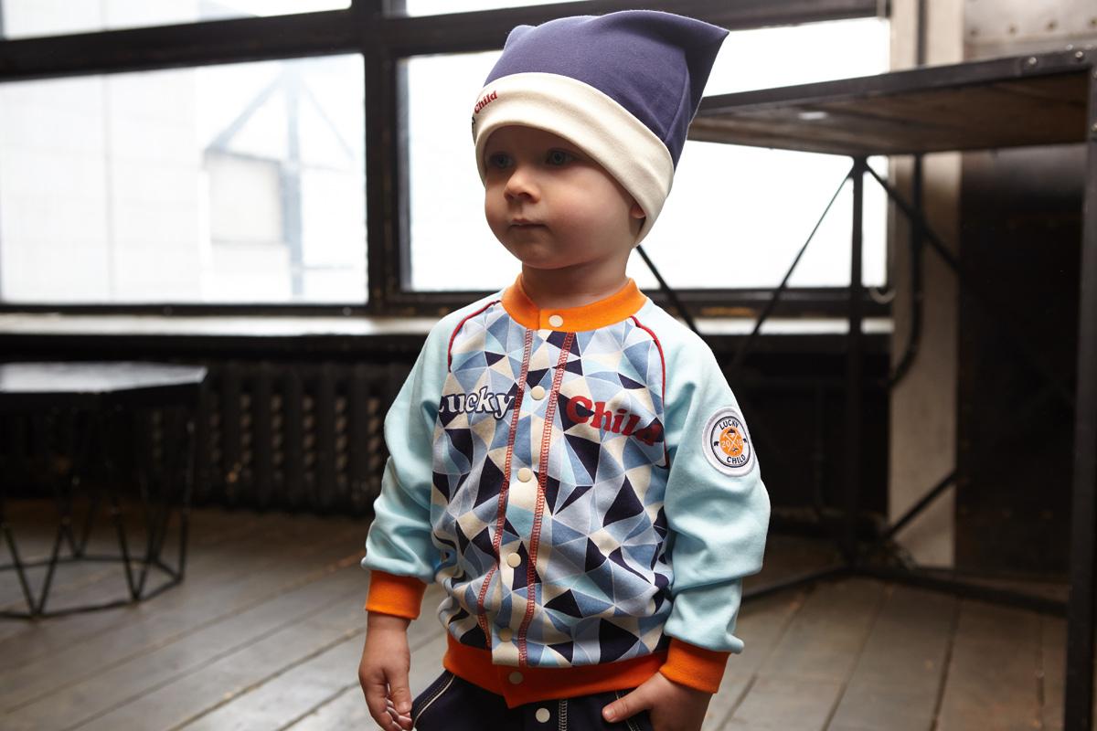 Шапочка для мальчика Lucky Child, цвет: синий. 32-9ф. Размер 47 пижамы lucky child пижама