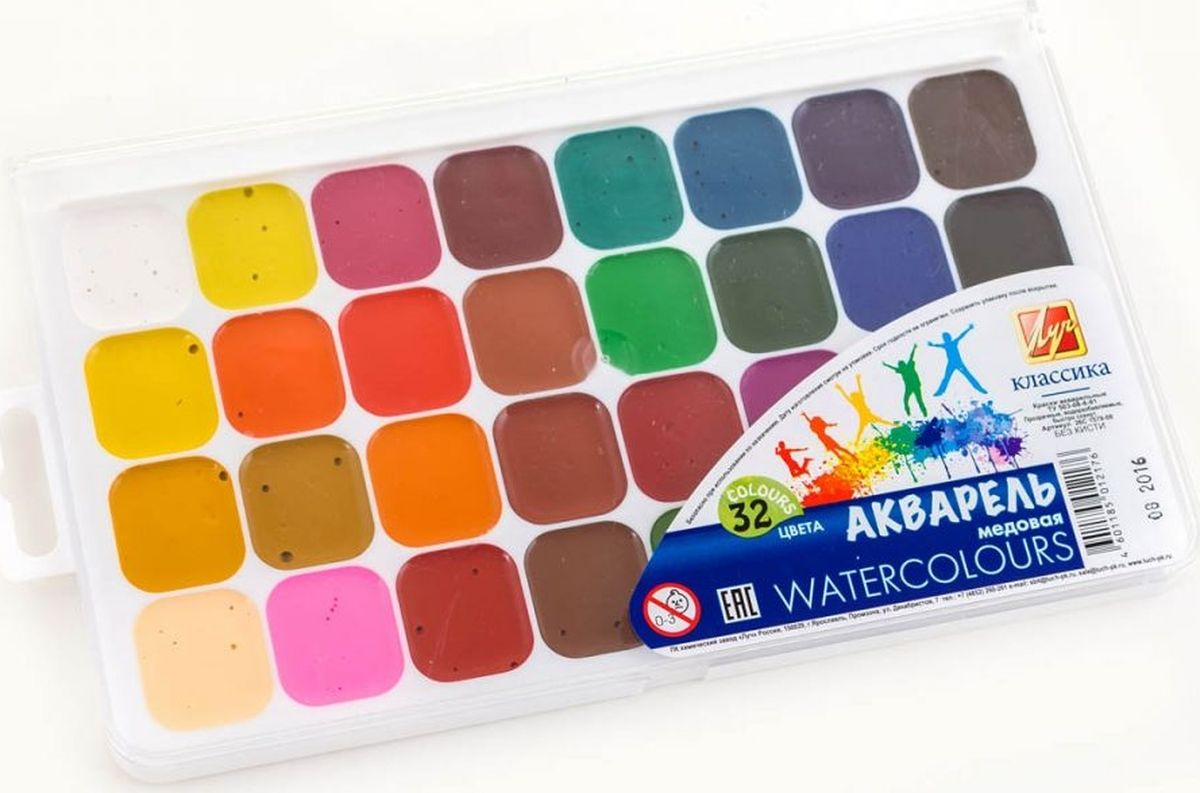 Луч Акварель медовая Классика 32 цвета краски луч акварель классика 16 цветов без кисти