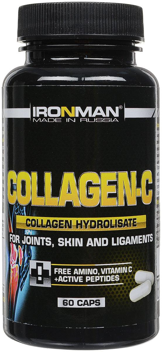 """Коллаген С """"Ironman"""" - это сложный белковый концентрат, содержащий 80%   гидролизата коллагена - основного белка соединительной ткани, входящей в   состав хрящей, сухожилий, связок, костей, кожи. Формула содержит в   специальном соотношении гидролизат коллагена, желатин и витамин С. Это   уникальный источник оксипролина и оксилизина - аминокислот, которые в   соединении с витамином С обеспечивают скорейшее восстановление и   укрепление соединительной ткани, особенно после травмы и в   послеоперационный период. Содержит 40% белка в виде свободных, активных   аминокислот, мгновенно усваиваемых организмом.   Состав: гидролизат коллагена Rousselot Angouleme, желатин, аскорбиновая   кислота.  Содержание питательных веществ в одной порции (12 капсул): белок 3,85 г,   свободные аминокислоты 1,54 г, ди, три, тетрапептиды 1,4 г, углеводы 0,75 г,   жиры 0 г, калории 18,5 кКал, влага 0,14 г, витамин С 60 мг.   Товар сертифицирован.    Уважаемые клиенты! Обращаем ваше внимание на возможные изменения в дизайне упаковки. Качественные характеристики товара   остаются неизменными. Поставка осуществляется в зависимости от наличия на складе.      Как повысить эффективность тренировок с помощью спортивного питания? Статья OZON Гид"""