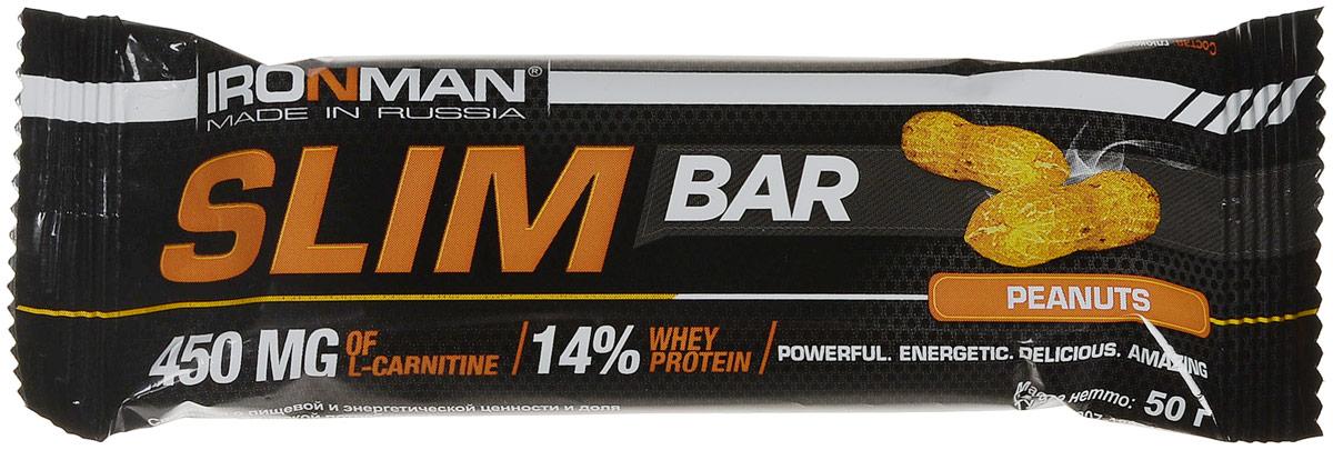 """Батончик энергетический Ironman """"Slim Bar"""", с L-карнитином, орех, темная глазурь, 50 г"""