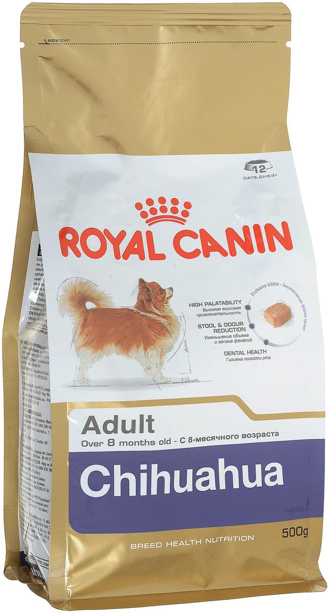 Корм сухой Royal Canin Chihuahua Adult, для собак породы чихуахуа в возрасте с 8 месяцев, 500 г318005Корм сухой Royal Canin Chihuahua Adult - полнорационное питание для собак породы чихуахуа в возрасте с 8 месяцев и на протяжении всей жизни. Высокая вкусовая привлекательность.Стимулирует аппетит даже у самых разборчивых чихуахуа благодаря отборным натуральным ароматизаторам и специально адаптированным размерам и форме крокетов.Нормализация стула.Корм для чихуахуа снижает объем и ослабляет неприятный запах экскрементов животного. Уменьшение риска возникновения зубного камня.Благодаря хелаторам кальция и специально подобранной текстуре крокетов, которая оказывает чистящее воздействие, данный продукт помогает ограничить образование зубного камня у чихуахуа. В магазинах партнеров Royal Canin вы сможете купитькорм, обогащенный всеми необходимыми элементами.Специально для миниатюрных челюстей.Крокеты идеально подходят для крошечных челюстей чихуахуа. Форма крокет - крайне важный фактор нормального развития челюстей собак миниатюрных и декоративных пород. Зачастую с крокетами слишком большого размера собака просто не справляется. Состав: рис, кукуруза, дегидратированное мясо птицы, изолят растительных белков, животные жиры, гидролизат белков животного происхождения, свекольный жом, растительная клетчатка, минеральные вещества, рыбий жир, соевое масло, фруктоолигосахариды, масло огуречника аптечного, экстракт бархатцев прямостоячих (источник лютеина), экстракты зеленого чая и винограда (источники полифенолов), гидролизат из панциря ракообразных (источник глюкозамина), гидролизат из хряща (источник хондроитина).Добавки (в 1 кг): йод — 5,5 мг, селен — 0,29 мг, медь — 15 мг, железо — 170 мг, марганец — 76 мг, цинк — 228 мг, витамин A — 32000 МЕ, витамин D3 — 800 МЕ, витамин E — 600 мг, витамин C — 300 мг, витамин B1 — 27,7 мг, витамин B2 — 49,8 мг, витамин B3 — 495 мг, витамин B5 — 148,8 мг, витамин B6 — 77,7 мг, витамин B12 — 0,14 мг.Товар сертифицирован.Уважаемые клиенты! Об