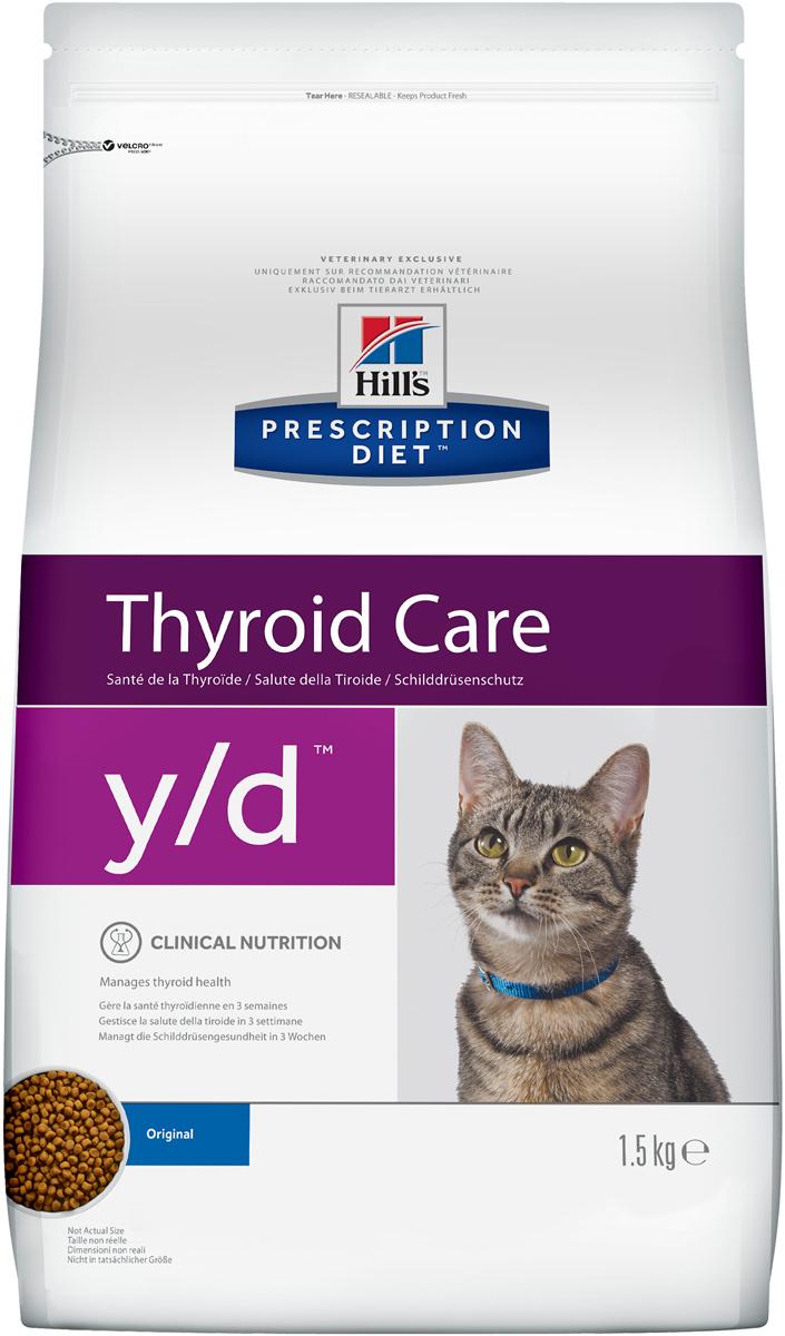 Сухой корм кошек Hills Prescription Diet y/d Feline Thyroid Health диета для лечения гипертиреоза 1,5кг, пакет1680Осуществляя покупку, я подтверждаю, что осведомлен о необходимости получения рекомендации ветеринарного специалиста не реже, чем раз в 6 месяцев для применения данного рациона.Рекомендуется• Кошкам с повышенной функцией щитовидной железыНе рекомендуется• Котятам• Беременным и лактирующим кошкамИнгредиенты сухого рационаМука из кукурузного глютена, кукуруза, жиовтный жир, сухое цельное яйцо, семя льна, L-лизин, гидролизат белка, минералы, рыбий жир, Dl-метионин, L-карнитин, рис, таурин, витамины и микро-элементы. Содержит натуральные консерванты и антиоксиданты из натуральных источников.СРЕДНЕЕ СОДЕРЖАНИЕ НУТРИЕНТОВ В рационеПротеин 32,2 %Жиры 23,5 %Углеводы (БЭВ) 32,0 %Клетчатка (общая) 1,0 %Влага 5,6 %Кальций 0,80 %Фосфор 0,54 %Натрий 0,27 %Калий 0,86 %Магний 0,07 %Йод 0.18 мг/кгОмега-3 жирные кислоты 0,99 %Омега-6 жирные кислоты 3,64 %Таурин 1 970 мг/кгL-карнитин 505 мг/кгВитамин A1012 700 МЕ/кгВитамин D10435 МЕ/кгВитамин E10610 мг/кгВитамин C10110 мг/кгБета-каротин 1,5 мг/кгДополнительная информация• Сбалансированное повседневное питание, вкус которого полюбит Ваша кошка.• ВАЖНОo Большинство кошек переходят на новое питание в течение 7 дней, но может потребоваться больше времени (до нескольких недель).o Так как потребление йода из других источников, таких как лакомства, другое питание и т.п., может снизить эффективность рациона с ограниченным содержанием йода, особенно важно, чтобы кошки с гиперфункцией щитовидной железы получали ИСКЛЮЧИТЕЛЬНО Prescription Diet™ y/d™ Feline.o Содержание гормона T4 должно быть ощутимо снижено при первой проверке (4ая неделя) и быть приближено к нормальному уровню ко второй проверке (8ая неделя). Если значение все еще высокое к 8ой неделе, спросите владельца о жестком следовании рекомендациям по питанию, чтобы исключить любые риски поступления йода из других источников.o Повторная диагностика должна проводиться каждые 6