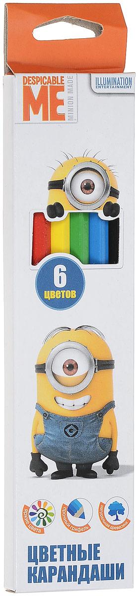 Universal Миньоны Набор цветных карандашей 6 цветов31931Яркие карандаши ТМ Гадкий Я помогут маленькому художнику создавать красивые картинки, а любимые герои вдохновят малыша на новые интересные идеи. В набор входит 6 цветных мягких и одновременно прочных карандашей, идеально подходящих для рисования, письма и раскрашивания. Яркие линии получаются без сильного нажима. Благодаря высококачественной древесине, карандаши легко затачиваются. Прочный грифель не крошится при падении и не ломается при заточке. Состав: древесина, цветной грифель. Уважаемые клиенты! Обращаем ваше внимание на то, что упаковка может иметь несколько видов дизайна. Поставка осуществляется в зависимости от наличия на складе.