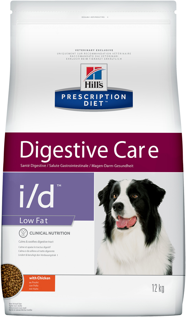 Корм сухой диетический Hills I/D для собак, низкокалорийный, для лечения ЖКТ, 12 кг1809Сухой корм для собак Hills I/D - полноценный диетический рацион при острых кишечных абсорбативных расстройствах, для компенсации дефицита нутриентов (питательных веществ), при нарушении пищеварения и экзокринной недостаточности поджелудочной железы у собак. Рацион содержит повышенный уровень электролитов, ингредиенты высокой биологической ценности и биодоступности и пониженный уровень жира.Высокоусваиваемый рацион с низким содержанием жира для поддержания здоровья желудочно-кишечного тракта в условиях функциональных расстройств и минимизации риска из рецидивов.- Превосходный вкус понравится вашей собаке.- Пребиотические волокна обеспечивают рост полезной микрофлоры.- Добавление имбиря способствует деликатному пищеварению.Рекомендации по кормлению: рекомендуемое число кормлений: 2 раза в сутки и более. Для поддержания оптимального веса питомца суточная норма корма, обозначенная на упаковке, требует корректировки в соответствии с размерами животного. Рекомендуемая продолжительность диетотерапии при острой диарее - 1-2 недели; для компенсации дефицита нутриентов - 3-12 недель; в случаях хронической недостаточности поджелудочной железы - пожизненно. Обеспечьте питомца постоянным свободным доступом к свежей воде.Состав: мясо и пептиды животного происхождения, зерновые злаки, экстракты растительного белка, производные растительного происхождения, масла и жиры, минералы, семена, овощи. Легкоусваиваемые ингредиенты: кукуруза, рис, пшеница, мука их кукурузного глютена, мука из мяса птицы, растительное масло. Источник пребиотических волокон: мякоть сахарной свеклы, семена льна.Анализ: белок 23,5%, жир 7,3%, сырая клетчатка 1,8%, сырная зола 5,4%, кальций 0,77%, фосфор 0,62%, натрий 0,31%, калий 0,88%. На кг: витамин Е 550мг, витамин С 90 мг, бета-каротин 1,5 мг, L-карнитин 325 мг, имбирь 10 000 мг.Добавки на кг: витамин А 34 870 МЕ, витамин D3 1 810 МЕ, железо 313 мг, йод 3,1 мг, медь 39,7 