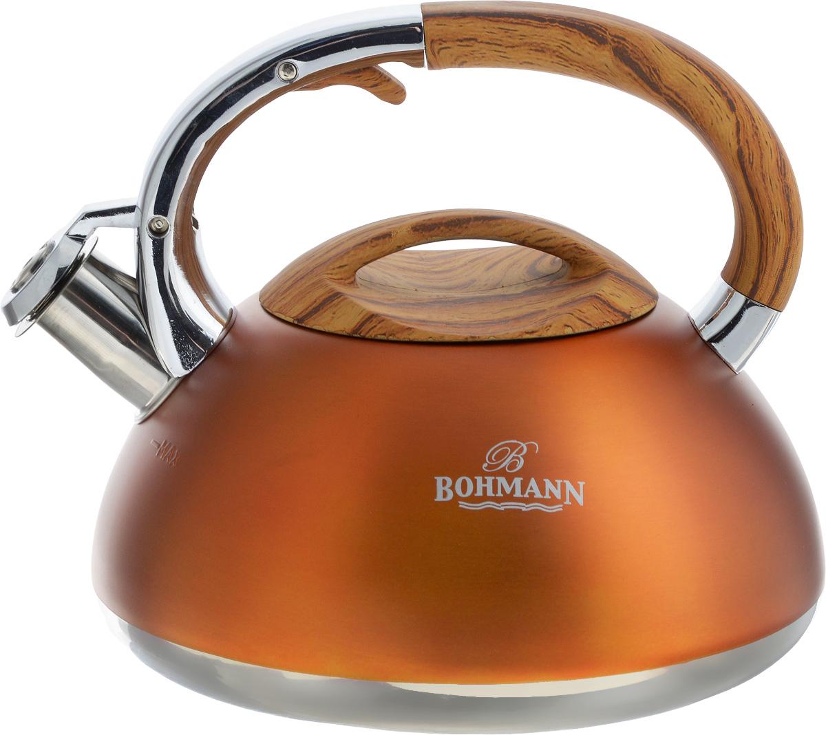 Чайник Bohmann, со свистком, 3 л. BH-9959BH-9959Чайник Bohmann выполнен из высококачественной нержавеющей стали, что делает его весьма гигиеничным и устойчивым к износу при длительном использовании. Носик чайника оснащен насадкой-свистком, что позволит вам контролировать процесс подогрева или кипячения воды. Чайник снабжен стальной крышкой и эргономичной ручкой с бакелитовой вставкой.Эстетичный и функциональный чайник будет оригинально смотреться в любом интерьере.Подходит для всех типов плит, кроме индукционных. Можно мыть в посудомоечной машине. Высота чайника (с учетом ручки и крышки): 20 см.Диаметр чайника (по верхнему краю): 11 см.Диаметр дна: 16 см.