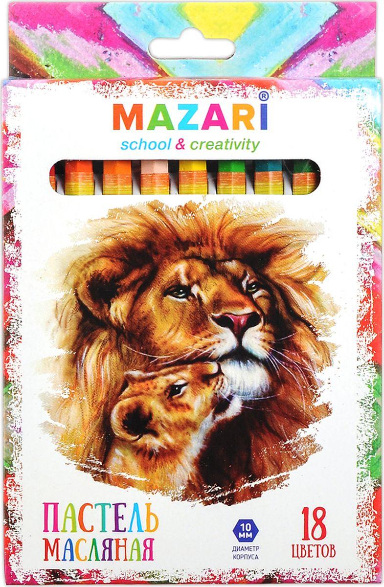 Mazari Пастель масляная Safari 18 цветовМ-6382-18Набор Mazari Safariсодержит масляную пастель 18 ярких активных цветов.Пастель предназначена для рисования по бумаге, картону, дереву, стеклу,керамике, пластику.