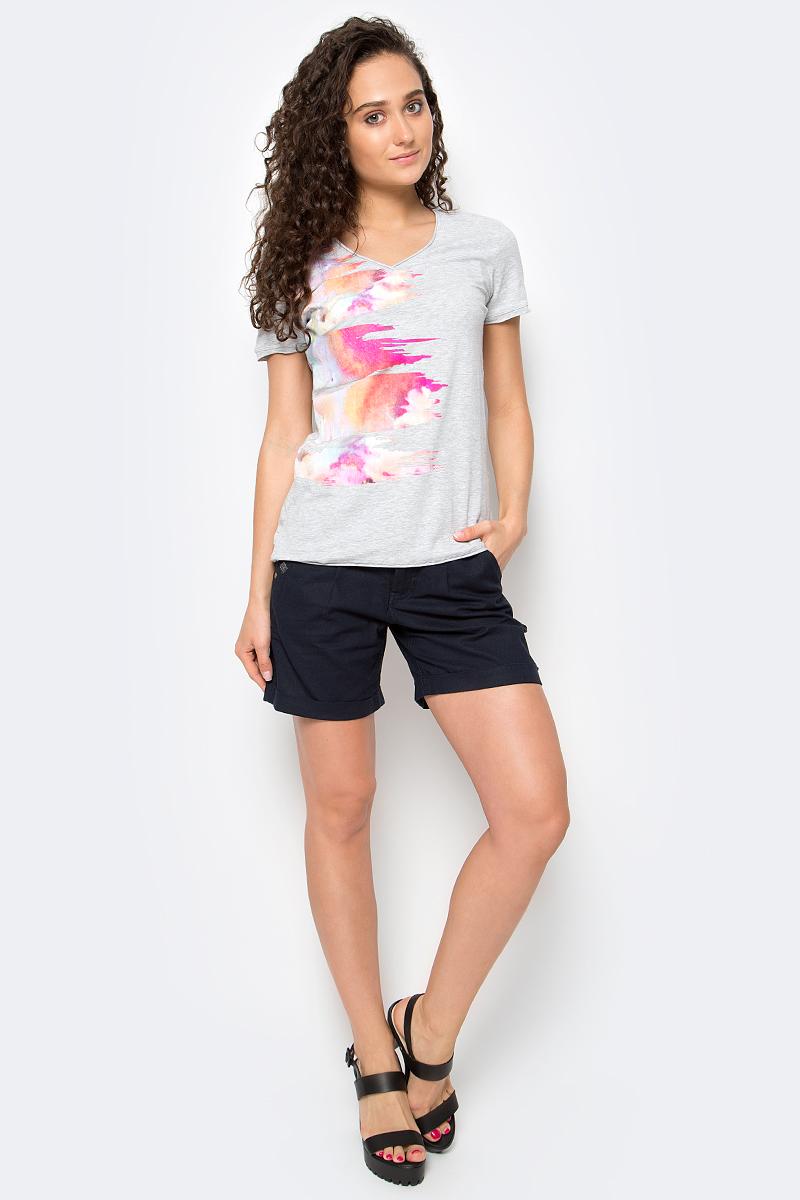 Футболка женская Luhta, цвет: серый. 737228591LV. Размер M (46) футболка женская moodo цвет белый сиреневый серый l ts 2045 white размер m 46