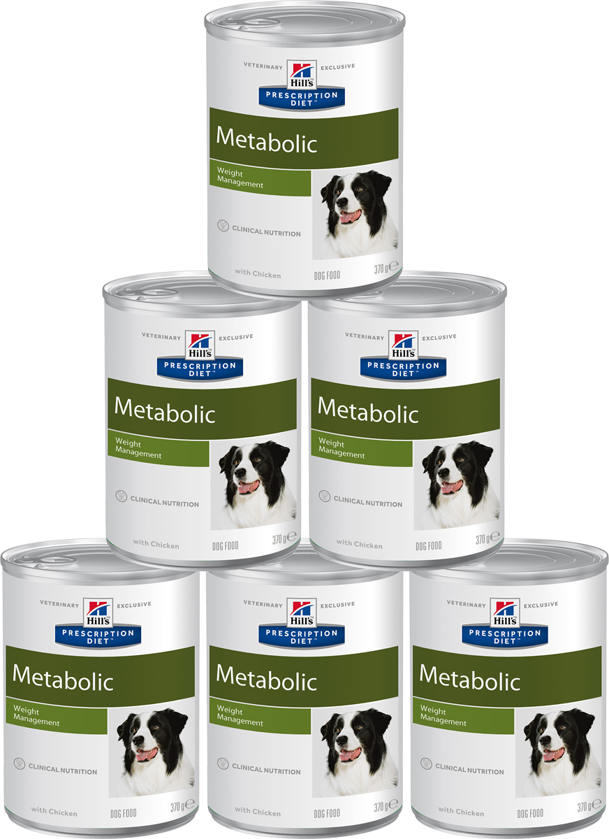 Консервы диетические для собак Hills Metabolic, для коррекции веса, 370 г х 6 шт2101Консервы для собак Hills Metabolic - полноценный диетический рацион для снижения избыточной массы тела и поддержания оптимального веса. Данный рацион обладает пониженной энергетической ценностью.Рекомендации по кормлению: рекомендуемая норма рассчитана на основании идеального веса вашей собаки. Корректировка приведенных значений и режим кормления - в соответствии с рекомендациями ветеринарного врача. Рекомендуемая продолжительность диетотерапии: до момента достижения оптимального веса.Состав: свинина, кукуруза, яичный белок, курица, целлюлоза, рис, выжимка томата, льняное семя, кокосовое масло, минералы, DL-метионин, порошок моркови, L-лейцин, соль, витамины, микроэлементы, таурин, L-карнитин, бета-каротин.Среднее содержание нутриентов: L-карнитин 90 мг/кг, L-лизин 0,44%, бета-каротин 1 мг/кг, витамин А 13860 МЕ/кг, витамин С 25 мг/кг, витамин D 93 МЕ/кг, витамин Е 135 мг/кг, влага 74,5%, жиры 3,4%, калий 0,21%, кальций 0,2%, клетчатка 4%, магний 0,02%, натрий 0,1%, общая диетическая клетчатка 5,9%, омега-3 жирные кислоты 0,23%, омега-6 жирные кислоты 0,67%, протеин 7,2%, таурин 383 мг/кг, углеводы 9,5%, фосфор 0,15%.Энергетическая ценность (100 г): 87 Ккал.Вес банки: 370 г.Товар сертифицирован.Уважаемые клиенты! Обращаем ваше внимание на возможные изменения в дизайне упаковки. Качественные характеристики товара остаются неизменными. Поставка осуществляется в зависимости от наличия на складе.