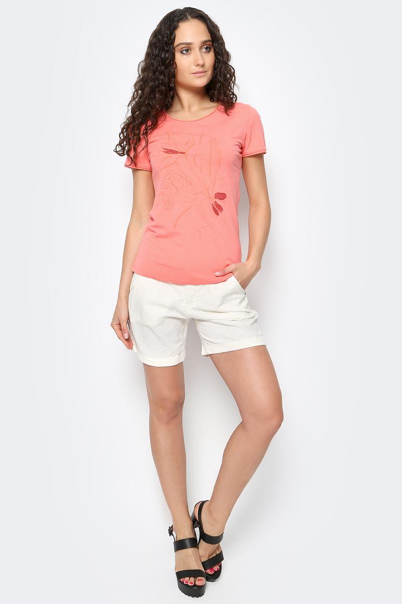 Футболка женская Luhta, цвет: розовый. 737343591LV. Размер M (46)737343591LVЖенская футболка от Luhta выполнена из эластичного хлопка. Модель с короткими рукавами и круглым вырезом горловины оформлена спереди цветочным принтом.