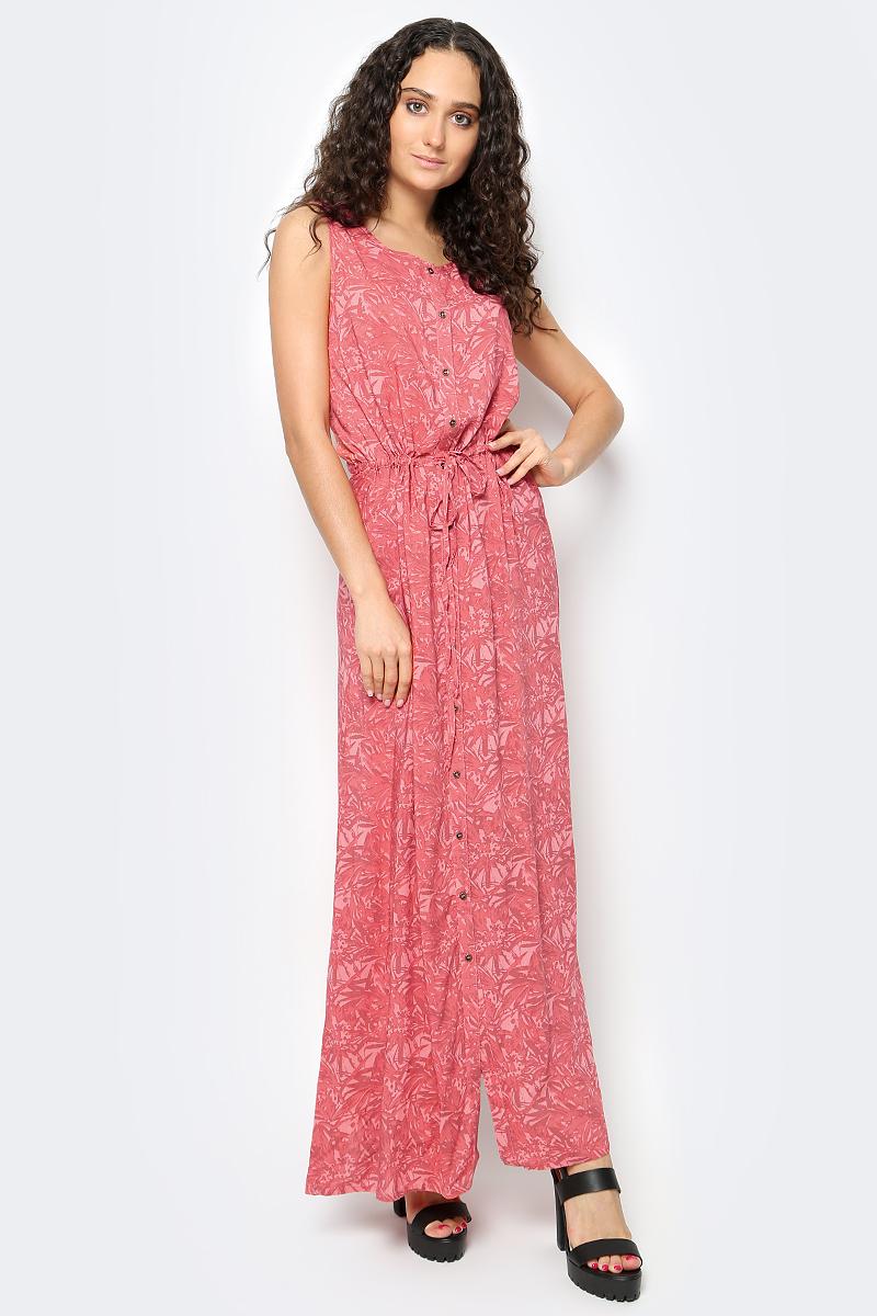 Платье Luhta, цвет: оранжевый. 737340333LV. Размер 32 (40)737340333LVЖенское платье Luhta выполнена из высококачественного материала. Удлиненная модель без рукавов и с круглым вырезом горловины застегивается на пуговицы. Талия дополнена затягивающимся шнурком.