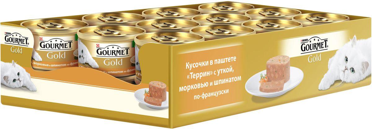 Консервы Gourmet для взрослых кошек, с уткой, морковью и шпинатом, 85 г, 24 шт12254204GOURMET Gold®– это золотая коллекция вкусов и текстур, такие как террин по-французски, паштет, нежные биточки и другие роскошные блюда, перед которыми не устоит даже самая взыскательная кошка. мясо и мясные субпродукты (утка), овощи (морковь, шпинат) минеральные вещества, сахара, продукты переработки растительного сырья, витамины, консерванты. МЕ/кг: витамин A: 720; витамин D3: 110.мг/кг: железо: 25; йод:0,32; медь: 2,9; марганец: 5,0; цинк: 41.Tехнологическая добавка: мг/кг: камедь кассии: 2300.