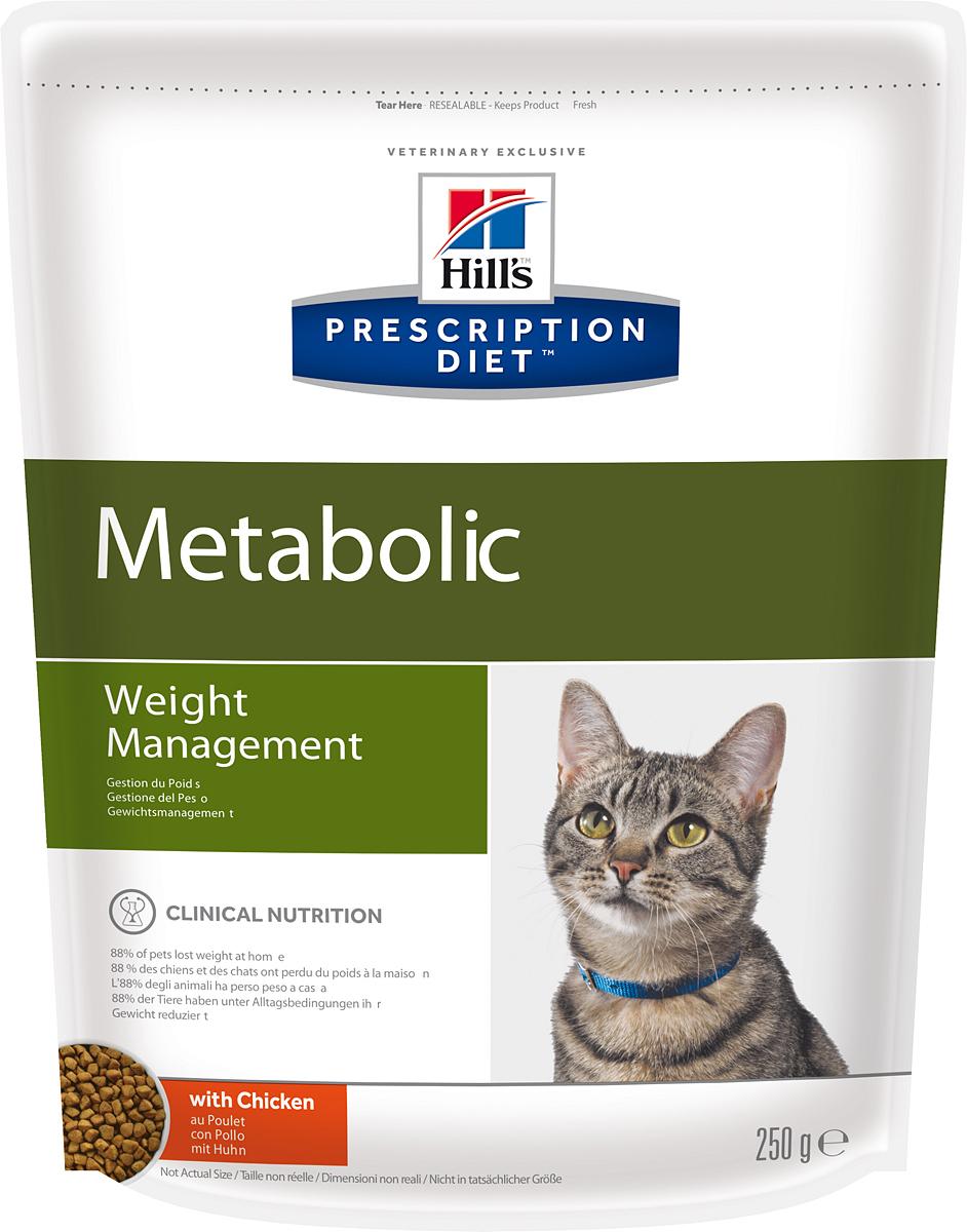 Корм сухой диетический Hills Metabolic для кошек, для коррекции веса, 250 г2146Сухой диетический корм для кошек Hills - полноценный диетический рацион для кошек, предназначенный для снижения избыточной массы тела и поддержания оптимального веса. Данный рацион обладает пониженной энергетической ценностью. Рацион для снижения и поддержания веса позволяет избежать повторного набора веса после прохождения программы по снижению веса.- Клинически доказанное снижение жировой массы на 28%.- Отличный вкус понравится вашей кошке.Состав: мясо и пептиды животного происхождения, зерновые злаки, экстракты растительного белка, производные растительного белка, производные растительного происхождения, овощи, масла и жиры, семена, минералы.Анализ: белок 37,8%, жир 11,9%, клетчатка 9,1%, зола 6%, кальций 0,96%, фосфор 0,7%, натрий 0,31%, калий 0,7%, магний 0,09%; на кг: витамин Е 600 мг, витамин С 90 мг, бета-каротин 1,5 мг.Добавки на кг: Е672 (витамин А) 35930 МЕ, Е671 (витамин D3) 2110 МЕ, Е1 (железо) 202 мг, Е2 (йод) 2 мг, Е4 (медь) 25,6 мг, Е5 (марганец) 158 мг, Е6 (цинк) 172 мг, Е8 (селен) 0,4 мг, с натуральным консервантом и натуральными антиоксидантами.Метаболическая энергия (рассчитываемая): 14,1 МДж на кг.Товар сертифицирован.Уважаемые клиенты! Обращаем ваше внимание на возможные изменения в дизайне упаковки. Качественные характеристики товара остаются неизменными. Поставка осуществляется в зависимости от наличия на складе.