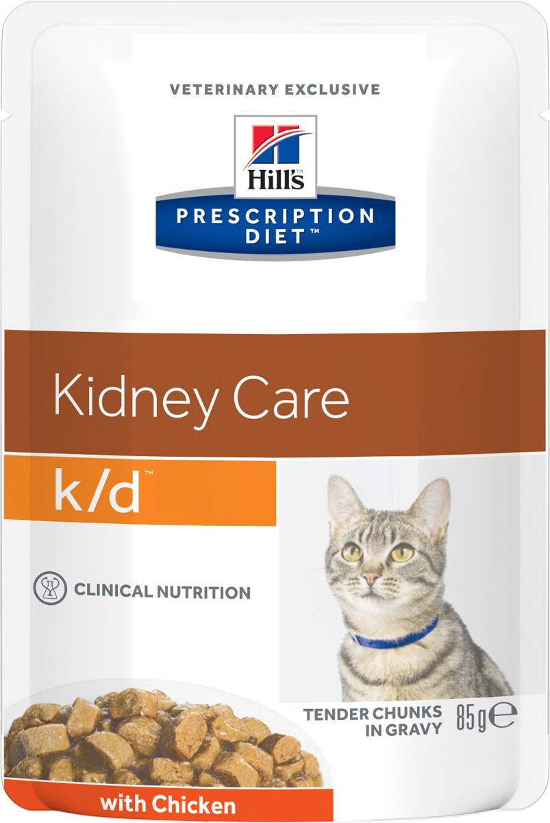 Консервы диетические для кошек Hill's K/D, для поддержания функции почек, с курицей, 85 г консервы для кошек hill s k d диетические для лечения заболеваний почек с курицей 156 г х 12 шт