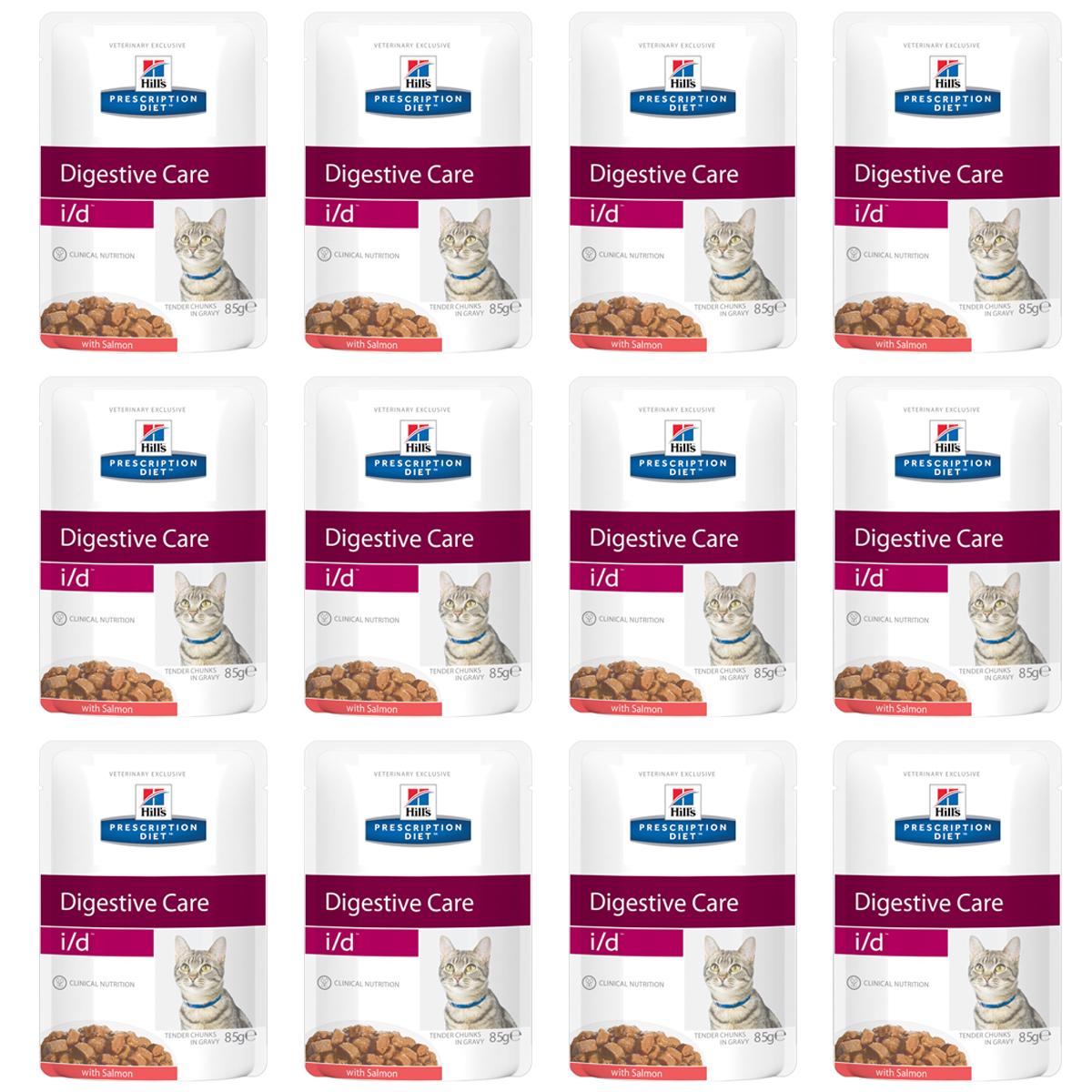 Консервы Hills Prescription Diet. I/D для кошек с заболеваниями ЖКТ, с лососем, 85 г, 12 шт3409_12Консервы Hills Prescription Diet. I/D рекомендуются:- При заболеваниях желудочно-кишечного тракта: гастрите, энтерите, колите (наиболее распространенные причины диареи). - Для восстановления после хирургической операции на желудочно-кишечном тракте. - При недостаточности экзокринной функции поджелудочной железы. - При панкреатите без гиперлипидемии. - Для восстановления после легких хирургических процедур и состояний, незначительно ослабляющих организм. - Для котят в качестве повседневного питания. Обеспечивает полноценное сбалансированное питание котятам (в течение короткого периода) и взрослым кошкам. Не рекомендуется кошкам с задержкой натрия в организме.Ключевые преимущества: - Высокая перевариваемость продукта улучшает всасывание нутриентов и способствует восстановлению желудочно-кишечного тракта. - Содержание жиров снижено, что помогает уменьшить стеаторею (маслянистый стул). - Повышенное содержание растворимой клетчатки обеспечивает поступление короткоцепочных жирных кислот, которые питают энтероциты и восстанавливают кишечную микрофлору. - Повышено содержание электролитов, витаминов группы B, что восполняет потерю этих нутриентов при рвоте и диарее. - Добавлена антиоксидантная формула, которая нейтрализует действие свободных радикалов, участвующих в развитии гастроэнтерита. Ингредиенты: печень курицы, свинина, курица, лосось (4%), крахмал из тапиоки, пшеничная мука, концентрированный растительный протеин, кукурузный крахмал, глюкоза, минералы, сухое цельное яйцо, белковая пудра, целлюлоза, подсолнечное масло, витамины и микроэлементы. Окрашено карамелью. Среднее содержание нутриентов в рационе: протеин 8,3%, жиры 4,4%, углеводы (БЭВ) 6,4%, клетчатка (общая) 0,6%, влага 78,6%, кальций 0,23%, фосфор 0,18%, натрий 0,09%, калий 0,24%, магний 0,02%, Омега-3 жирные кислоты 0,12%, Омега-6 жирные кислоты 0,77%, таурин 613 мг/кг, Витамин A 16 900 МЕ/кг, Витамин D 260 МЕ/