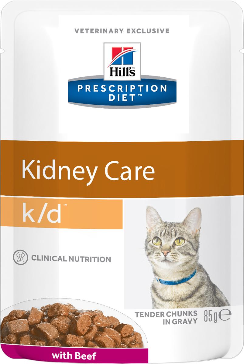 """Консервы Hills Prescription Diet k/d Feline Renal Health для кошек, лечение заболеваний почек, 85 г3411Рационы Hills Prescription Diet клинически протестированы, разработаны для поддержания и коррекции состояния у животных, имеющих проблемы со здоровьем при сохранении превосходных вкусовых характеристик. Рационы Hills Prescription Diet могут быть рекомендованы только ветеринарным врачом. Они являются выбором ветеринарных врачей для диетотерапии у собственных домашних животных, страдающих заболеваниями или находящихся в группе риска.Рекомендуется• При хронических заболеваниях почек. • При заболеваниях сердца. • При уратном и цистиновом уролитиазе.Не рекомендуется• Котятам.• Беременным и кормящим кошкам.• Кошкам с дефицитом натрия в организме.Дополнительная информация• В 2-х летнем исследовании клинически доказано что у кошек, питавшихся рационом Hills Prescription Diet k/d Feline, значительно реже отмечались эпизоды уремии и снижался уровень смертностиКлючевые преимущества• Сниженное содержание фосфора помогает замедлить развитие заболевания почек• Контролируемое содержание протеина помогает снизить накопление токсичных продуктов белкового обмена, в то же время удовлетворяя потребность организма в протеинах. Уменьшает концентрацию в моче компонентов уратных и цистиновых уролитов• Повышенное содержание непротеиновых калорий помогает обеспечить поступление энергии и не допускает катаболизма протеинов• Повышенная буферная емкость рациона препятствует развитию метаболического ацидоза• Омега-3-жиные кислоты улучшают почечный кровоток• Содержание натрия снижено, что помогает замедлить развитие заболевания почек. Уменьшает задержку воды в организме на ранних стадиях заболеваний сердца• Повышенное содержание растворимой клетчатки уменьшает реабсорбцию аммония в кишечнике. Помогает понизить концентрацию мочевины в крови• Повышенное содержание витаминов группы """"В"""" восполняют потери данных витаминов при полиурии• Супер Антиоксидантная Формула нейтрализует действие свободных рад"""