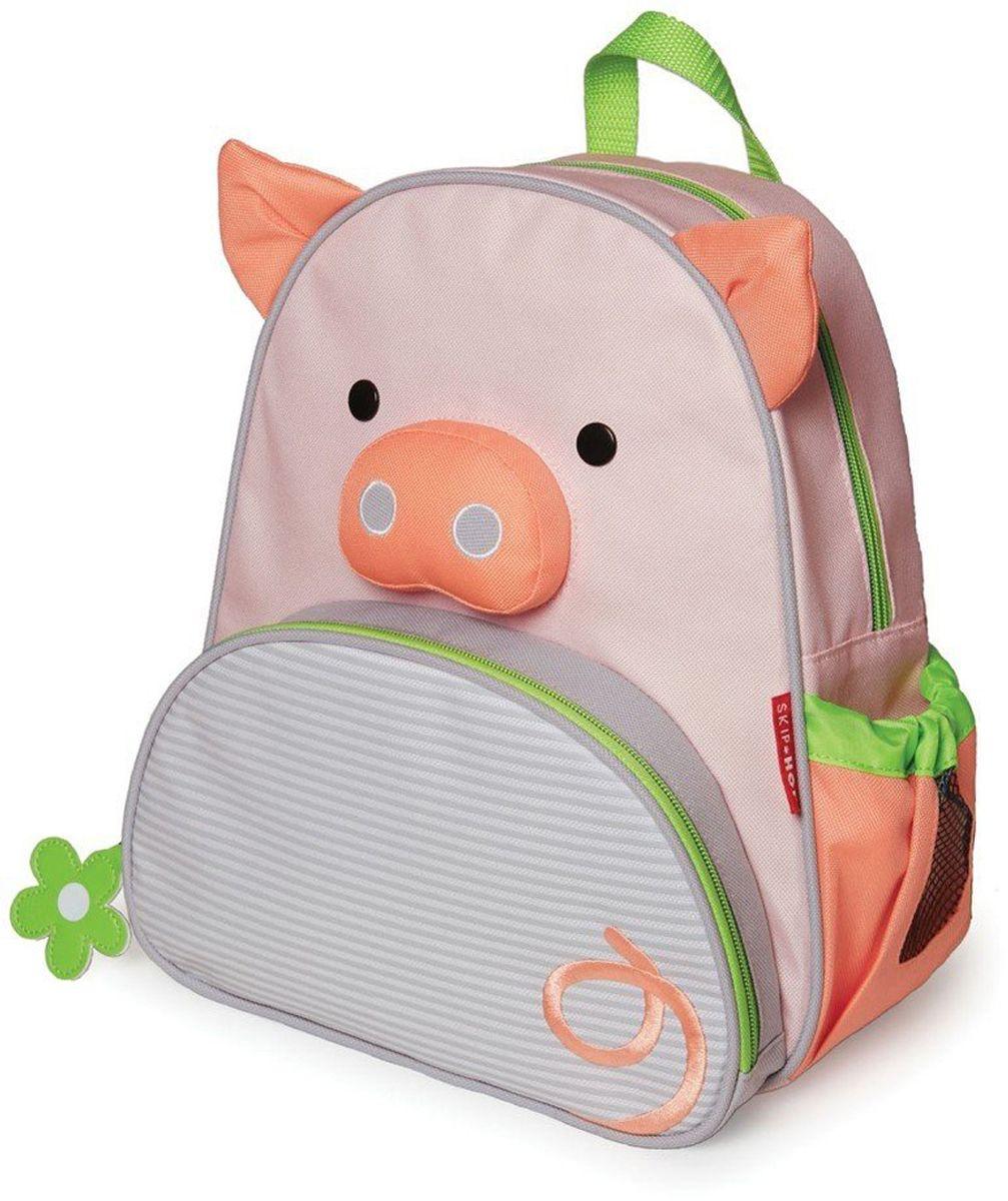 Skip Hop Рюкзак дошкольный ПоросенокSH 210237Дошкольный рюкзак Skip Hop каждый день будет радовать вашего малыша, вызывать улыбки у прохожих и зависть у сверстников. С ним можно ходить в детский сад, на прогулку, в гости к бабушке или ездить на экскурсии.Рюкзак имеет одно основное отделение на застежке-молнии, в которое легко поместятся книжка, альбом для рисования, краски, фломастеры, любимая игрушка и контейнер с едой, а кармашек сбоку предназначен специально для бутылочки с водой. Передний карман на молнии предназначен для мелких вещей.Рюкзак оснащен ручкой для переноски в руках и лямками регулируемой длины.