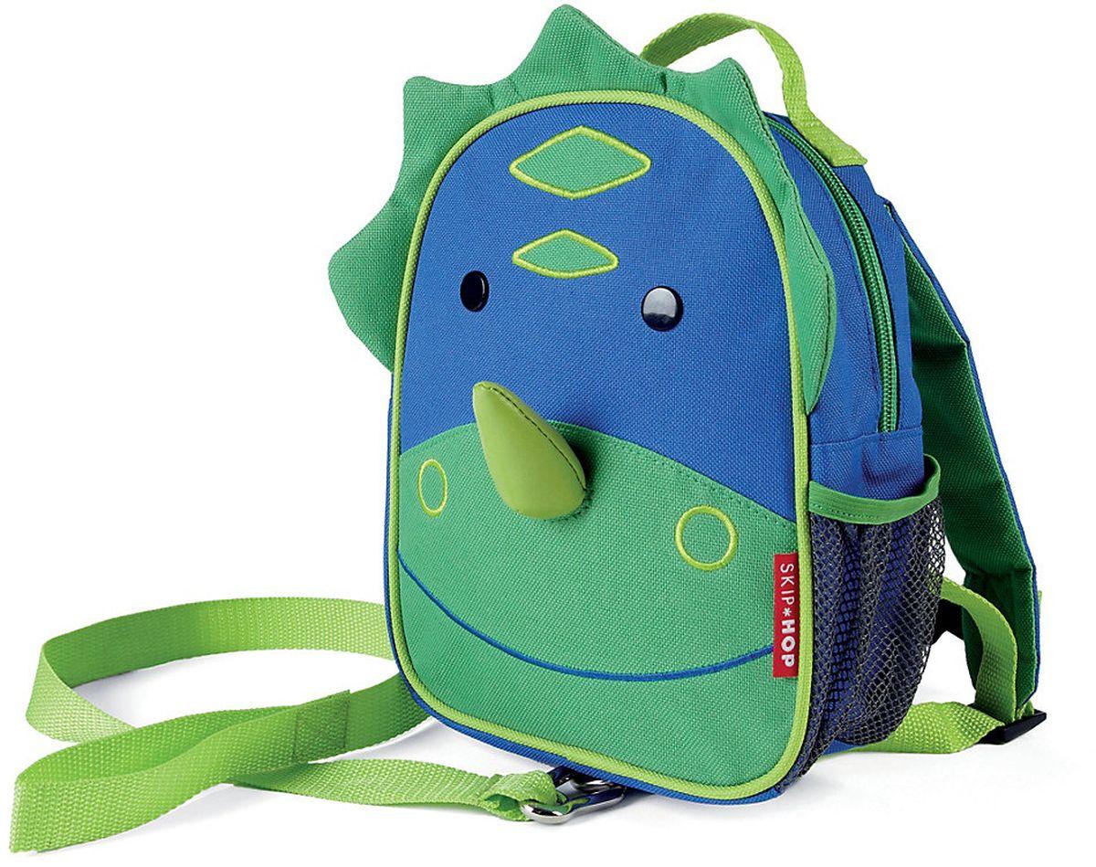Skip Hop Рюкзак дошкольный Динозавр с поводкомSH 212255Дошкольный рюкзак Skip Hop, выполненный в виде динозаврика, поможет сделать первые шаги, подстрахует малыша в ответственный момент, огородит родителей от лишних волнений и беспокойств с помощью поводка для детской безопасности. При необходимости поводок можно отстегнуть.Милая мордашка животного всегда будет поднимать настроение, а вместительный кармашек позволит носить с собой необходимые вещи: пакетик с соком, любимые игрушки и блокноты для рисования.Рюкзак имеет одно отделение на застежке-молнии, в котором находится бирка для имени.