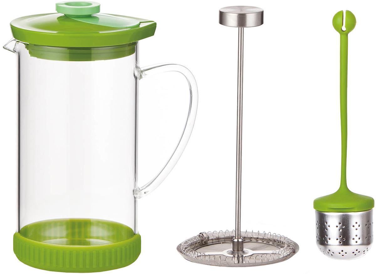 """Френч-пресс """"SinoGlass"""" - это отличный заварочный чайник для ежедневного использования, который позволит быстро приготовить ароматный чай или кофе. Емкость чайника выполнена из жаропрочного стекла, пластика, металла и резины. Чайник имеет специальный пресс-фильтр для отделения чайных листьев от воды. После заваривания чая фильтр не надо вынимать, просто медленно опускайте его вниз - вся заварка уйдет вниз, а вверху останется очищенный от заварки напиток, готовый к употреблению. Также в комплект входит ситечко для заваривания чая. Изделие очень легко использовать: просто засыпьте в ситечко заварку и опустите его в френч-пресс или кружку. Заваривание чая в чайнике """"SinoGlass"""" - это приятное и легкое занятие. Заварочный чайник займет достойное место на вашей кухне. Современный дизайн полностью соответствует последним модным тенденциям в создании кухонной утвари. Диаметр основания: 10,5 см. Диаметр колбы (по верхнему краю): 10 см. Высота френч-пресса (с учетом крышки): 22 см.Размер ситечка: 5 х 5 х 4,5 см."""