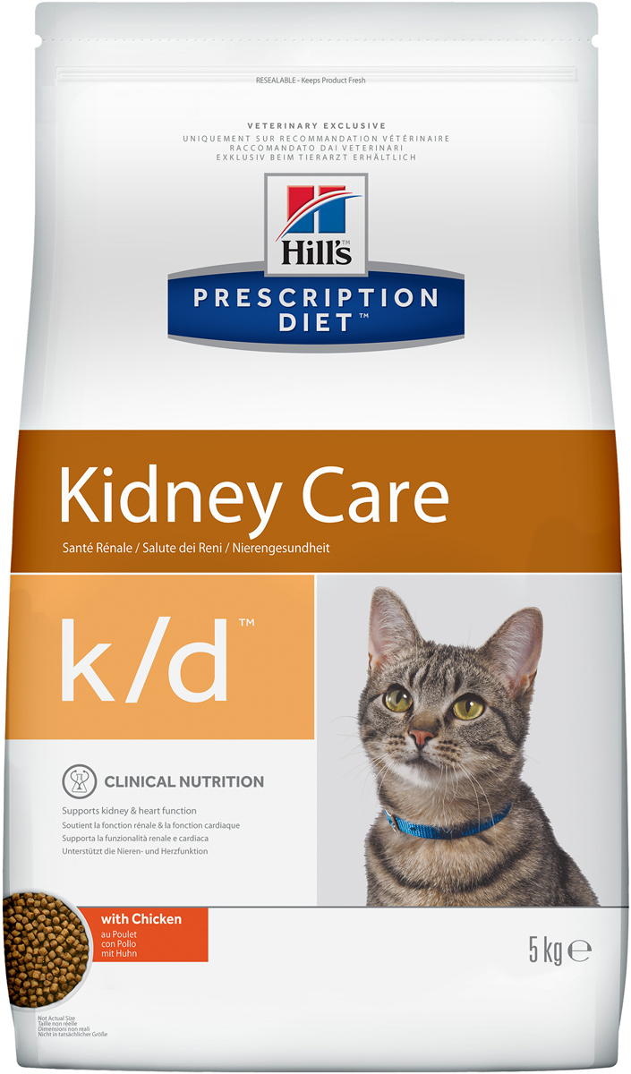 Корм сухой для кошек Hills K/D, диетический, для лечения заболеваний почек, с курицей, 5 кг4308Сухой корм для кошек Hills K/D - полноценный диетический рацион для кошек для поддержания функции почек при почечной недостаточности. Содержит пониженный уровень фосфора и оптимальный уровень протеинов высокой биологической ценности.Подтверждено клинически - рацион с пониженным содержанием белка и фосфора уменьшает проявление клинических признаков заболеваний почек, увеличивает продолжительность и улучшает качество жизни кошки.- Превосходный вкус понравится вашей кошке.- Супер Антиоксидантная формула помогает сохранить здоровье почек.Рекомендации по кормлению: суточную норму можно разделить на 2 и более кормлений в день. Рекомендуемая продолжительность диетотерапии: до 6 месяцев (от 2 до 4 недель в случае временной почечной недостаточности). Обеспечьте питомца постоянным свободным доступом к свежей воде. Состав: зерновые злаки, мясо и пептиды животного происхождения, рыба и рыбные производные, экстракты растительного происхождения, производные растительного происхождения, различные сахара, масла и жиры, минералы, яйцо и его производные, молоко и продукты молочного происхождения. Источники белка: печень, курица, свиная печень, концентрат белка гороха. Анализ: белок 27%, жир 20,5%, незаменимые жирные кислоты 3,9%, клетчатка 1,6%, зола 4,8%, кальций 0,71%, фосфор 0,46%, натрий 0,24%, калий 0,74%, магний 0,05%. На кг: витамин Е 550 мг, витамин С 70 мг, бета-каротин 1,5 мг, таурин 2 270 мг.Добавки на кг: витамин А 34 480 МЕ, витамин D3 2 030 МЕ, железо 87 мг, йод 1,4 мг, медь 8,6 мг, марганец 9 мг, цинк 180 мг, селен 0,2 мг. С консервантом и антиоксидантами. Товар сертифицирован.Уважаемые клиенты! Обращаем ваше внимание на возможные изменения в дизайне упаковки. Качественные характеристики товара остаются неизменными. Поставка осуществляется в зависимости от наличия на складе.