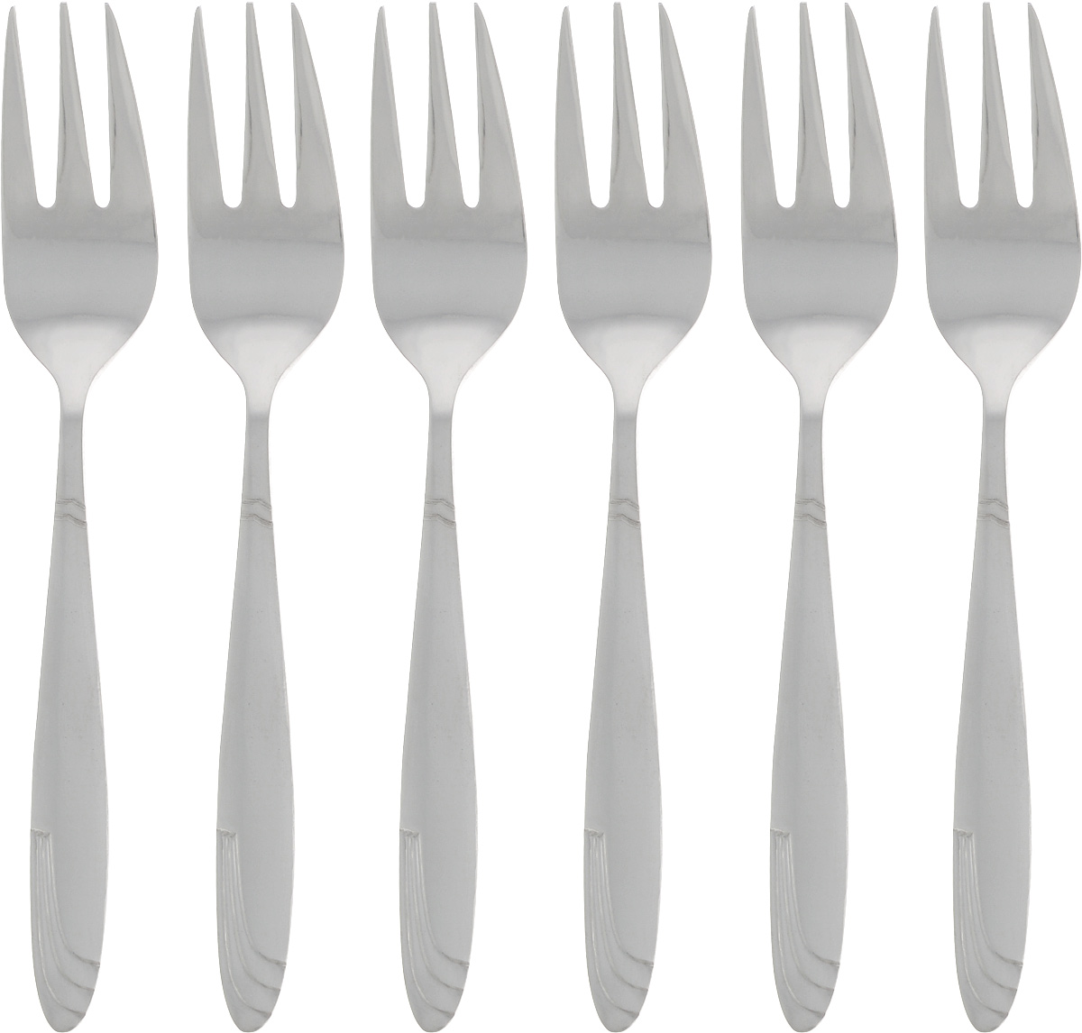 Набор десертных вилок Bohmann, 6 шт. BH-7406BH-7406_рисунок 2Набор десертных вилок Bohmann займет достойное место среди аксессуаров на вашей кухне. В набор входит 6 предметов. Вилки изготовлены из нержавеющей стали и имеют эргономичные ручки.Эффектный дизайн, качество изготовления и многофункциональность в использовании позволяют выделить десертные вилки Bohmann Длинная волна из ряда подобных.Длина вилок: 14 см.Размер рабочей части: 5 х 2,2 см.