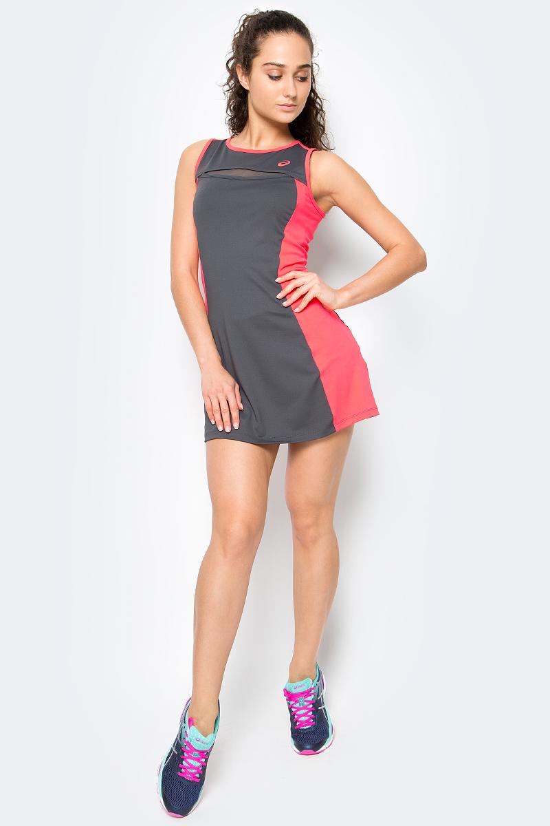 Платье для тенниса женское Asics W Club Dress, цвет: серый. 141173-0779. Размер M (44/46)141173-0779Платье для тенниса женское Asics W Club Dress выполнено из полиэстера и спандекса. Модель без рукавов с круглым вырезом горловины.