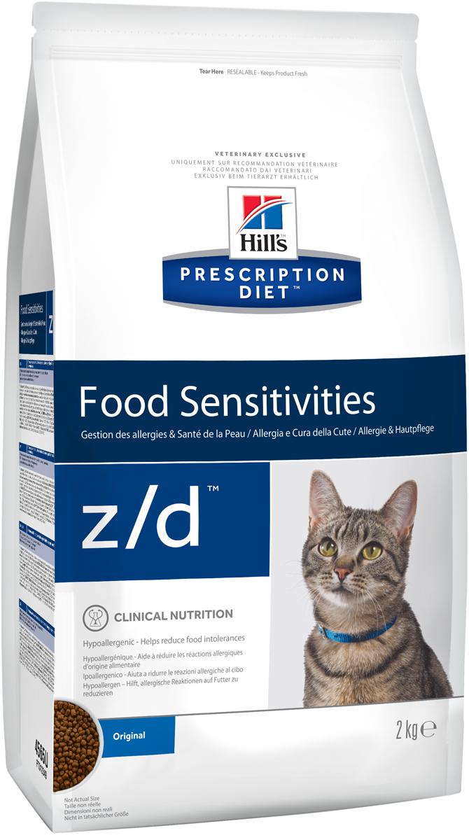 Корм сухой диетический Hills Z/D для кошек, для лечения острых пищевых аллергий, 2 кг4Сбалансированный лечебный корм для кошек Hills Z/D содержит особую формулу с пониженным содержанием аллергенов, благодаря чему является щадящей диетой для кошек с чувствительным пищеварением. Пищевая аллергия и непереносимость могут стать причиной таких серьезных проблем, как чувствительная или раздраженная кожа, проблемы с шерстью и ушами, расстройство пищеварения. Кошки с пищевой аллергией или непереносимостью, как правило, показывают негативную реакцию на протеины, содержащиеся в пище. Ключевые преимущества корма: - содержит легкоусвояемые протеины, снижающие риск аллергических реакций, - содержит один источник углеводов, благодаря чему обладает меньшим количеством аллергенов в своем составе. - легкоусвояемые углеводы и жиры снижают нагрузку на желудочно-кишечный тракт, - обогащен Омега-3 и Омега-6 жирными кислотами для здоровой кожи и блестящей шерсти. Рекомендации по кормлению: Монодиета не требует дополнений. Проконсультируйтесь с вашим ветеринаром перед приемом. Суточная норма кормления указана на упаковке и должна быть рассчитана в соответствии с размером животного, чтобы поддерживать оптимальный вес. Суточную норму можно разделить на два и более кормлений в день. Рекомендуемая продолжительность диетотерапии 3-8 недель; при исчезновении клинических симптомов непереносимости диету можно применять без временных ограничений. Обеспечьте питомцу постоянный доступ к свежей воде. Состав: мясо и пептиды животного происхождения, зерновые злаки, экстракты растительного белка, производные растительного происхождения, масла и жиры, минералы, гидролизат куриной печени (источник белка), рис (источник углеводов). Анализ: белок 36,2%, жир 14,5%, незаменимые жирные кислоты 5,4%, клетчатка 1,3%, зола 5%, кальций 0,63%, фосфор 0,61%, натрий 0,34%, калий 0,69%; на кг: витамин E 550 мг, витамин С 70 мг, Бета-каротин 1,5 мг, таурин 1 895 мг. Добавки на кг: E671 (витамин D3) 1 450 ME, E1 (железо)