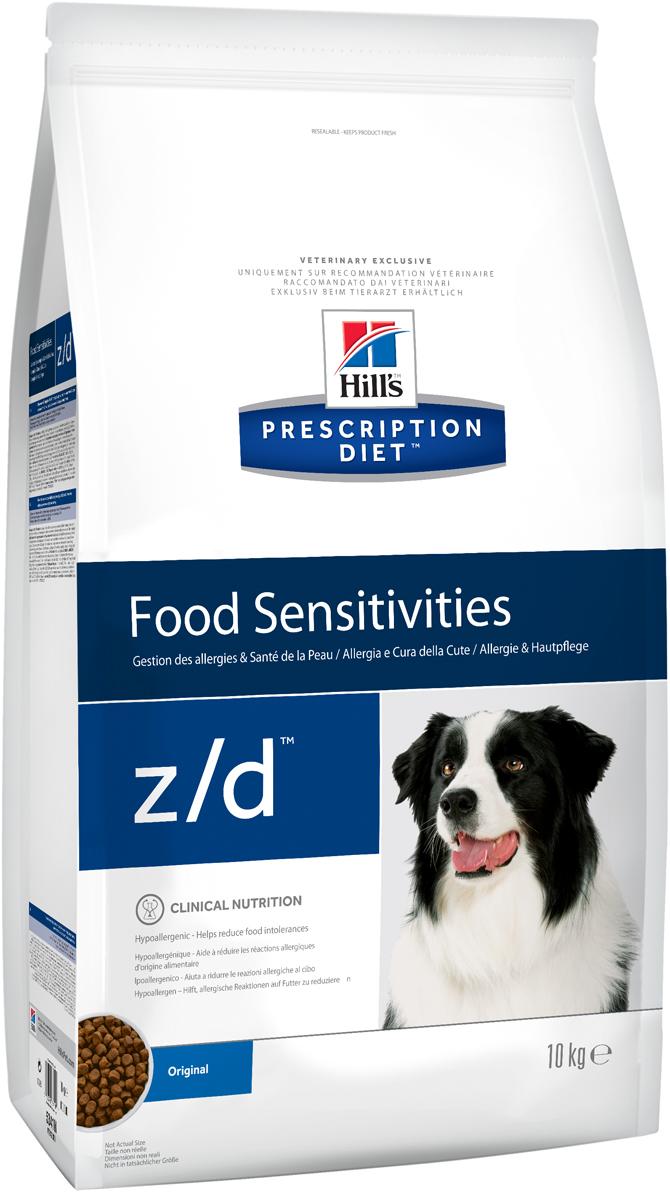 Корм сухой диетический Hills Z/D для собак, для лечения острых пищевых аллергий, 10 кг5341Сбалансированный лечебный корм для собак Hills Z/D содержит особую формулу с пониженным содержанием аллергенов, благодаря чему является щадящей диетой для собак с чувствительным пищеварением. Пищевая аллергия и непереносимость могут стать причиной таких серьезных проблем, как чувствительная или раздраженная кожа, проблемы с шерстью и ушами, расстройство пищеварения. Собаки с пищевой аллергией или непереносимостью, как правило, показывают негативную реакцию на протеины, содержащиеся в пище. Ключевые преимущества корма: - содержит легкоусвояемые протеины, снижающие риск аллергических реакций, - содержит один источник углеводов, благодаря чему обладает меньшим количеством аллергенов в своем составе. - легкоусвояемые углеводы и жиры снижают нагрузку на желудочно-кишечный тракт, - обогащен Омега-3 и Омега-6 жирными кислотами для здоровой кожи и блестящей шерсти. Рекомендации по кормлению: Монодиета не требует дополнений. Проконсультируйтесь с вашим ветеринаром перед приемом. Суточная норма кормления указана на упаковке и должна быть рассчитана в соответствии с размером животного, чтобы поддерживать оптимальный вес. Суточную норму можно разделить на два и более кормлений в день. Рекомендуемая продолжительность диетотерапии 3-8 недель; при исчезновении клинических симптомов непереносимости диету можно применять без временных ограничений. Обеспечьте питомцу постоянный доступ к свежей воде. Состав: злаки, мясо и производные животного происхождения, производные растительного происхождения, масла и жиры, минералы, гидролизат куриной печени (источник белка), кукурузный крахмал. Анализ: белок 18,0%, жир 14,3%, незаменимые жирные кислоты 4,2%, сырая клетчатка 4,5%, сырая зола 4,9%, кальций 0,61%, фосфор 0,49%, натрий 0,27%, калий 0,70%; на кг: витамин E 690 мг, витамин С 115 мг, Бета-каротин 1,5 мг, таурин 1 120 мг. Добавки на кг: E671 (витамин D3) 1 180 ME, E1 (железо) 367 мг, E2 (йод) 9,5 
