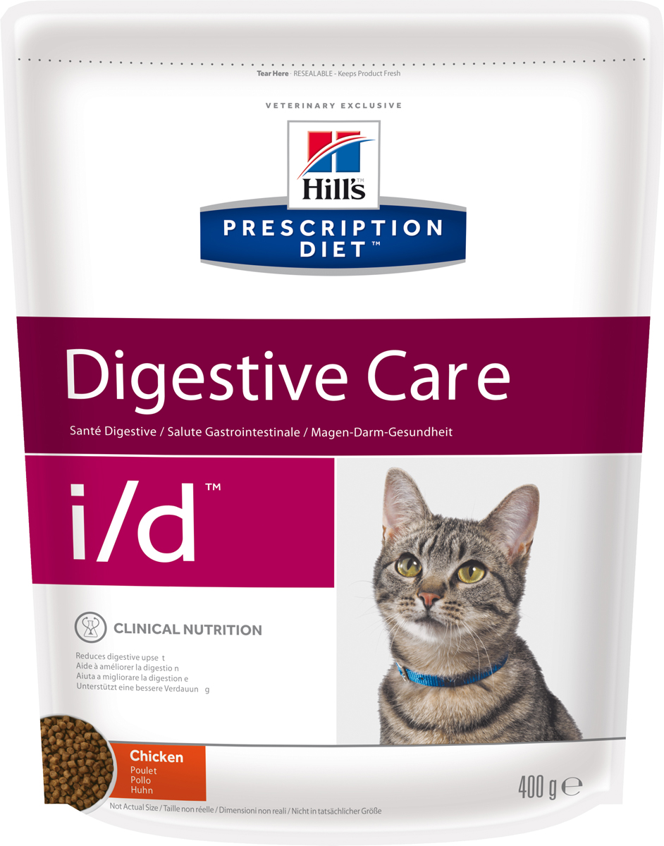Корм сухой диетический Hills I/D для кошек, для лечения ЖКТ, 400 г5483Сухой корм для кошек Hills I/D - полноценный диетический рацион при острых кишечных абсорбативных расстройствах, для компенсации дефицита нутриентов (питательных веществ), при нарушении пищеварения и экзокринной недостаточности поджелудочной железы у кошек. Рацион содержит повышенный уровень электролитов, ингредиенты высокой биологической ценности и биодоступности и пониженный уровень жира.br>Пониженный уровень жира и обогащение пребиотическими волокнами обеспечивает легкость пищеварения и быстрое восстановление организма после диареи.- Превосходный вкус понравится вашей кошке.- Супер Антиоксидантная формула помогает укрепить иммунную систему.Монодиета. Не требует дополнений. Рекомендации по кормлению: рекомендуемое число кормлений - 2 раза в сутки и более. Для поддержания оптимального веса питомца суточная норма корма, обозначенная на упаковке, требует корректировки в соответствии с размерами животного. Рекомендуемая продолжительность диетотерапии при острой диарее - 1-2 недели; для компенсации дефицита нутриентов - 3-12 недель; в случаях хронической недостаточности поджелудочной железы - пожизненно. Обеспечьте питомца постоянным свободным доступом к свежей воде. Состав: мясо и пептиды животного происхождения, зерновые злаки, экстракты растительного белка, производные растительного происхождения, масла и жиры, минералы, семена. Ингредиенты высокой биологической ценности: кукуруза, рис, мука из птицы, животный жир.Анализ: белок 38,3%, жир 18,9%, клетчатка 2,7%, зола 6,7%, кальций 1,07%, фосфор 0,81%, натрий 0,35%, калий 1,00%, магний 0,07%. На кг: витамин Е 550мг, витамин С 70 мг, бета-каротин 1,5 мг, таурин 1 880.Добавки на кг: витамин А 18 250 МЕ, витамин D3 1 075 МЕ, железо 87 мг, йод 1,4 мг, медь 8,6 мг, марганец 9 мг, цинк 180 мг, селен 0,24 мг. С антиоксидантами и консервантом.Товар сертифицирован.