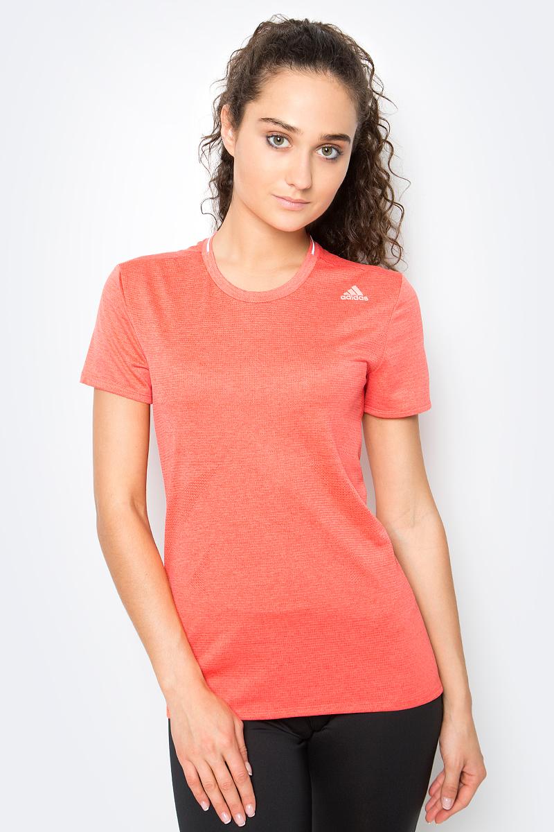 Футболка женская Adidas, цвет: коралловый. S97958. Размер XXS (38)
