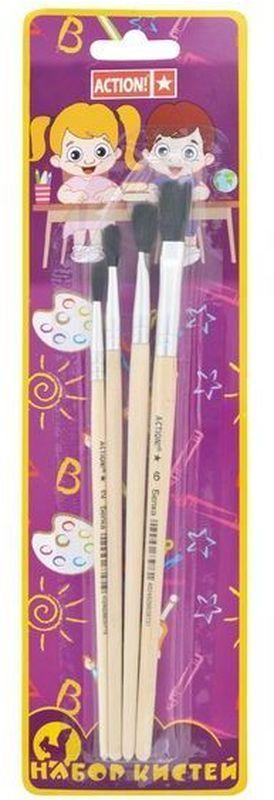 Action! Набор кистей Белка 4 штABS004SКисти из набора Action! Белка идеально подойдут для художественных и декоративно-оформительских работ и предназначены для рисования акварелью, темперой и гуашью.Материал ворса представляет собой волос белки. Материал ручки - дерево. В набор входят кисти: №2, №3 - круглые, №4, №6 - плоские.