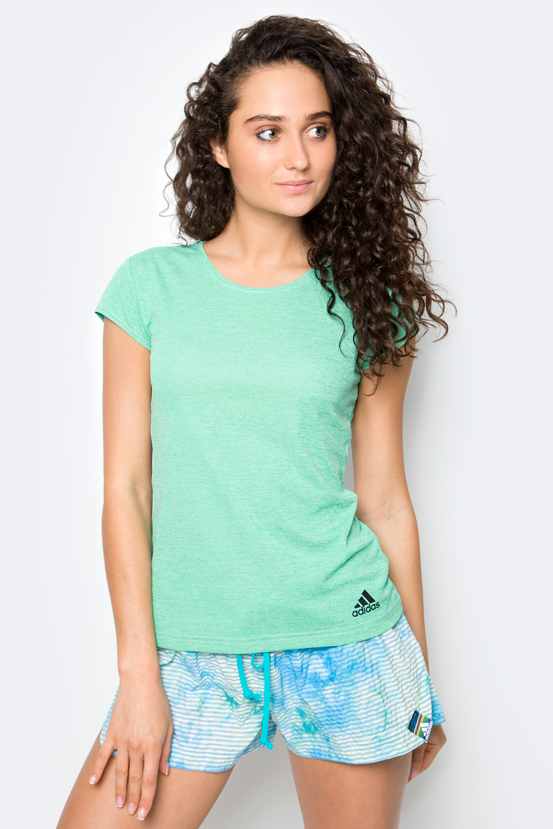 Футболка женская Adidas, цвет: зеленый. BJ9568. Размер S (42/44) женская одежда для спорта
