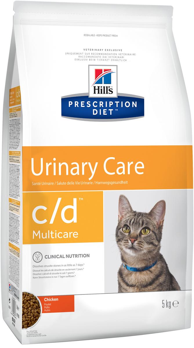 Корм сухой диетический Hills C/D для кошек, профилактика МКБ и струвитов, с курицей, 5 кг9043Сухой корм для кошек Hills C/D - полноценный диетический рацион для кошек. Рекомендован при урологическом синдроме кошек склонных к набору веса (для снижения вероятности рецидивов струвитного уролитиаза). Рацион обладает закисляющими мочу свойствами и содержит умеренный уровень магния.Растворяет струвитные уролиты уже через 14 дней и предотвращает рецидивы заболевания.- Превосходный вкус понравится вашей кошке.- Супер Антиоксидантная формула повышает устойчивость клеток организма к воздействию свободных радикалов.Рекомендации по кормлению: суточная норма кормления указана на упаковке и должна быть расчитана в соответствии с размером животного, чтобы поддерживать оптимальный вес. Суточную норму можно разделить на 2 и более кормлений в день. Рекомендуемая продолжительность диетотерапии: до 6 месяцев. Обеспечьте питомца постоянным свободным доступом к свежей воде. Состав: зерновые злаки, мясо и пептиды животного происхождения, экстракты растительного белка, масла и жиры, минералы. Подкисляющее мочу вещество: DL-метионин.Анализ: белок 32,4%, жир 15,6%, клетчатка 0,9%, зола 5,2%, кальций 0,72%, фосфор 0,66%, натрий 0,35%, калий 0,76%, хлориды 0,88, сера 0,64%, магний 0,06%. На кг: витамин Е 550мг, бета-каротин 1,5 мг, таурин 2 360 мг.Добавки на кг: витамин А 24170 МЕ, витамин D3 1 430 МЕ, железо 264 мг, йод 2,6 мг, медь 33,5 мг, марганец 11,6 мг, цинк 224 мг, селен 0,5 мг. С антиоксидантами и натуральным консервантом. Товар сертифицирован.Уважаемые клиенты! Обращаем ваше внимание на возможные изменения в дизайне упаковки. Качественные характеристики товара остаются неизменными. Поставка осуществляется в зависимости от наличия на складе.