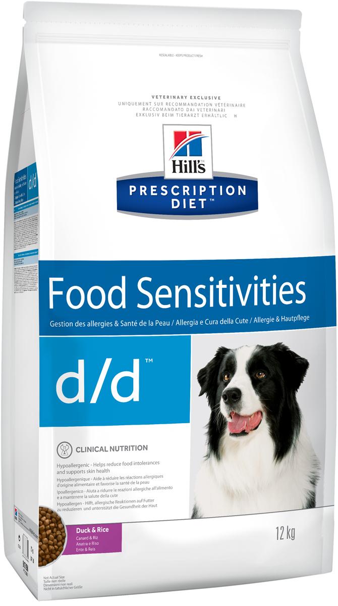 Корм сухой для собак Hills D/D Allergy & Skin Care, диетический, для лечения пищевых аллергий, с уткой и рисом, 12 кг9179Сухой корм для собак Hills D/D - полноценный диетический рацион для собак, склонных к пищевым реакциям, или с непереносимостью компонентов пищи. Поддерживает здоровье кожи при дерматитах и чрезмерной потере шерсти. Содержит специально подобранные источники протеинов, углеводов и высокий уровень полиненасыщенных жирных кислот. Не содержит распространенных пищевых аллергенов, содержит высокий уровень незаменимых жирных кислот для улучшения состояния кожи вашей собаки.- Превосходный вкус понравится вашей собаке.- Супер антиоксидантная формула повышает устойчивость клеток организма к воздействию свободных радикалов.Монодиета. Не требует дополнений. Рекомендации по кормлению: рекомендуемое число кормлений 2 раза в сутки и более. Рекомендуемая продолжительность диетотерапии при пищевой аллергии/непереносимости компонентов пищи - 3-8 недель, при исчезновении клинических симптомов диету можно применять без временных ограничений. Рекомендуемая продолжительность диетотерапии при дерматитах и чрезмерной потери шерсти - до 2х месяцев. Обеспечьте питомца постоянным свободным доступом к свежей воде. Состав: зерновые злаки, мясо и пептиды животного происхождения, масла и жиры, минералы, производные растительного происхождения. Источник белка: мука из утки, куриный гидролизат. Источник углеводов: рис. Анализ: белок 16,6%, жир 13,8%, незаменимые жирные кислоты 3,7%, клетчатка 1,3%, зола 4,7%, кальций 0,74%, фосфор 0,56%, натрий 0,33%, калий 0,64%. На кг: витамин Е 600мг, витамин С 70 мл, бета-каротин 1,5 мг. Добавки на кг: витамин А 16000 МЕ, витамин D3 940 МЕ, железо 72,5 мг, йод 1,2 мг, медь 7,2 мг, марганец 7,5 мг, цинк 150 мг, селен 0,2 мг. С антиоксидантами. Товар сертифицирован.Уважаемые клиенты! Обращаем ваше внимание на возможные изменения в дизайне упаковки. Качественные характеристики товара остаются неизменными. Поставка осуществляется в зависимости от 