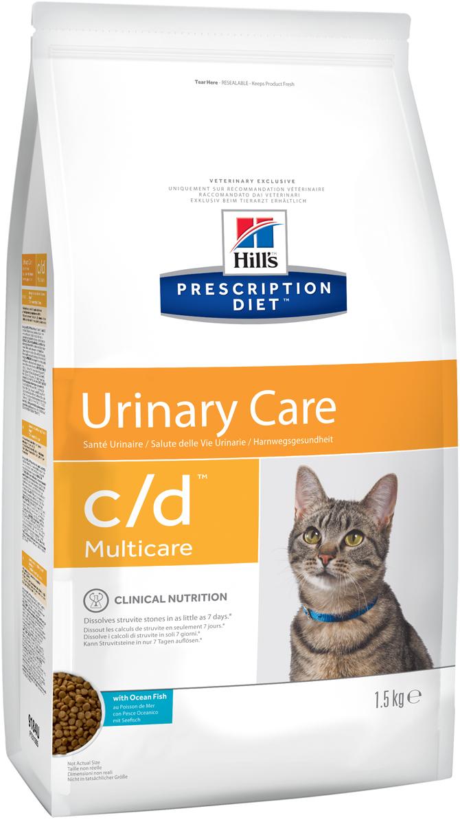 Корм сухой диетический Hills C/D для кошек, профилактика МКБ и растворение струвитов, с океанической рыбой, 1,5 кг9184Сухой корм для кошек Hills C/D - полноценный диетический рацион для кошек. Рекомендован при урологическом синдроме кошек склонных к набору веса (для снижения вероятности рецидивов струвитного уролитиаза). Рацион обладает закисляющими мочу свойствами и содержит умеренный уровень магния.Растворяет струвитные уролиты уже через 7 дней и предотвращает рецидивы заболевания.Состав: злаки, мясо и производные животного происхождения, экстракты растительного белка, масла и жиры, минералы, рыба и рыбные производные, семена, минералы. Анализ: белок 32,3%, жир 15%, омега-3 0,74%, клетчатка 0,7%, зола 5,2%, кальций 0,73%, фосфор 0,67%, натрий 0,33%, калий 0,06%, хлориды 0,84, сера 0,68%, магний 0,06%. На кг: витамин Е 550мг, бета-каротин 1,5 мг, витамин B6 26 мг, цитрат калия 2 мг.Добавки на кг: витамин А 24610 МЕ, витамин D3 1450 МЕ, железо 264 мг, йод 3,9 мг, медь 33,5 мг, марганец 12 мг, цинк 224 мг, селен 0,5 мг. Товар сертифицирован.Уважаемые клиенты! Обращаем ваше внимание на возможные изменения в дизайне упаковки. Качественные характеристики товара остаются неизменными. Поставка осуществляется в зависимости от наличия на складе.