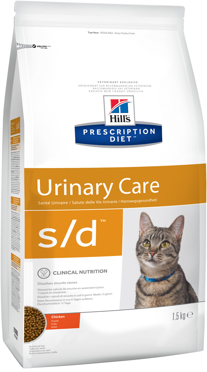 Корм сухой диетический Hills S/D для кошек, для лечения мочекаменной болезни, струвитов, 1,5 кг9189Сухой корм Hills S/D - диетический рацион для кошек для растворения струвитных уролитов. Способствует закислению мочи и содержит пониженный уровень магния. Баланс нутриентов (питательных веществ) изменяет состав мочи для полного растворения струвитных уролитов без хирургического вмешательства. Баланс нутриентов (питательных веществ) изменяет состав мочи для полного растворения струвитных уролитов без хирургического вмешательства.- Превосходный вкус понравится вашей кошке.- Супер Антиоксидантная формула повышает устойчивость клеток организма к воздействию свободных радикалов.Монодиета, не требует дополнений. Рекомендуемая продолжительность диетотерапии - 5-12 недель. Состав: зерновые злаки, мясо и пептиды животного происхождения, масла и жиры, экстракты растительного белка, яйцо и его производные, минералы.Подкисляющее мочу вещество: DL-метионин. Анализ: белок 31,9%, жир 23,4%, клетчатка 0,7%, зола 6%, кальций 0,86%, фосфор 0,7%, натрий 0,41%, калий 0,91%, хлориды 1,19%, сера 0,69%, магний 0,06%; на кг: витамин E 550 мг, Бета-каротин 1,5 мг, таурин 1 595 мг. Добавки на кг: E672 (витамин А) 21 580 ME, E671 (витамин D3) 1 270 ME, E1 (железо) 87 мг, E2 (йод) 1,4 мг, Е4 (медь) 8,6 мг, E5 (марганец) 9 мг, E6 (цинк) 180 мг, E8 (селен) 0,2 мг, антиоксиданты, консерванты. Товар сертифицирован.Уважаемые клиенты! Обращаем ваше внимание на возможные изменения в дизайне упаковки. Качественные характеристики товара остаются неизменными. Поставка осуществляется в зависимости от наличия на складе.