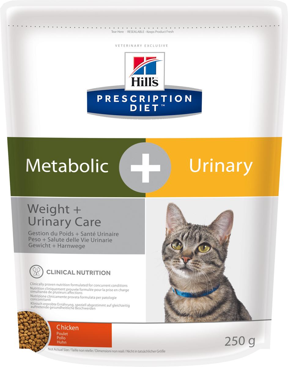 Корм сухой диетический Hills Metabolic + Urinary Feline, для кошек, для снижения веса и растворения струвитов, с курицей, 250 г10042Осуществляя покупку, я подтверждаю, что осведомлен о необходимости получения рекомендации ветеринарного специалиста не реже, чем раз в 6 месяцев для применения данного рациона.Рекомендуется• На начальном этапе у кошек с любым типом заболеваний нижних отделов мочевыводящих путей, в том числе кристаллурией и/или уролитиазом любого генеза, уретральными пробками и идиопатическим циститом кошек.• Расстворение стерильных струвитных уролитов• Для долговременного использования для кошек, склонных к: o Образованию струвитных кристаллов и уролитов, кристаллов и уролитов кальция оксалата и кальция фосфата (снижение появления и частоты рецидивов). o Формированию уретральных пробок (почти всегда вызванных кристаллами струвита или кальция фосфата).o Идиопатическому циститу кошек (ИЦК) И• Набору избыточного веса и ожирению• Для поддержания веса после его сниженияНе рекомендуется• Собакам• Котятам• Беременным и кормящим кошкамИнгредиенты сухого рационаКурица: Курица (26%) и мука из индейки, мука из кукурузного глютена, кукурузный крахмал, целлюлоза, размолотый рис, томатные выжимки, льняное семя, кокосовое масло, соевое масло, гидролизат белка, минералы, рыбий жир, L-лизин, DL-метионин, высушенная морковь, L-карнитин, витамины, таурин, микроэлементы и бета-каротин. С натуральным антиоксидантом (смесь токоферолов). СРЕДНЕЕ СОДЕРЖАНИЕ НУТРИЕНТОВ В рационеПротеин 36,8 %Жиры 12,5 %Углеводы (БЭВ) 29,6 %Клетчатка (общая) 10,2 %Влага 5,5 %Кальций 0,76 %Фосфор 0,66 %Натрий 0,33 %Калий 0,76 %Магний 0,07 %Хлоридs 0,85 %Сера 0,74 %Омега-3 жирные кислоты 1,35 %Омега-6 жирные кислоты 3,06 %Таурин 2 544 мг/кгL-карнитин 528 мг/кгL-лизин 2,25 %Витамин A107 001 МЕ/кгВитамин D10756 МЕ/кгВитамин E10810 мг/кгБета-каротин 2,0 мг/кгДополнительная информацияЗдоровье мочевыводящих путей• Клинически доказано растворяет струвиты всего за 7 дней (в среднем 27 дней).* • Не рекоме