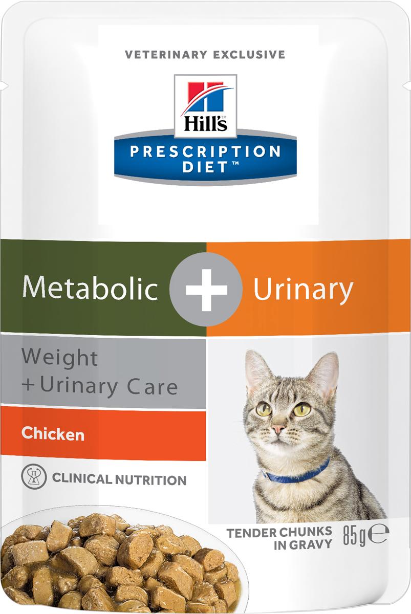 """Консервы для кошек Hill's """"Metabolic + Urinary"""", для коррекции веса при урологических заболеваниях, с курицей, 85 г"""