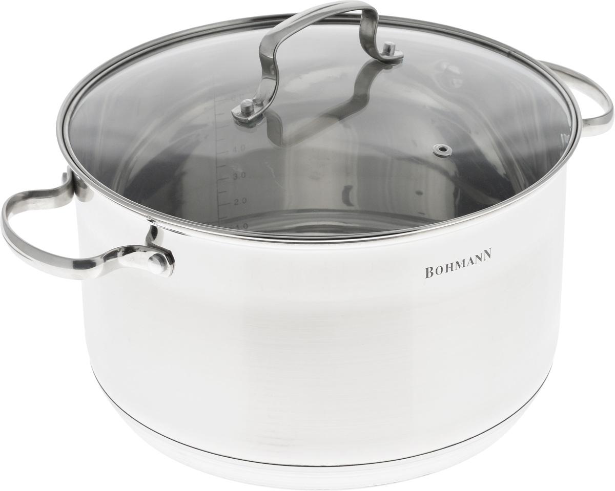 Кастрюля Bohmann, с крышкой, 7,7 л. 1926BH1926BHКастрюля Bohmann изготовлена из нержавеющей хромоникелевой стали с внешней зеркальной полировкой. Знаменитая высококачественная сталь известна и популярна благодаря своей стойкости к коррозии и кислотам. Капсульное дно позволяет готовить блюда с минимальным количеством воды и жира, сохраняя при этом вкусовые и питательные свойства продуктов. Внутренние стенки имеют отметки литража. Кастрюля оснащена надежными ручками из нержавеющей стали. Крышка, изготовленная из термостойкого стекла, имеет отверстие для выхода пара и стальной ободок против сколов и трещин.Можно мыть в посудомоечной машине. Подходит для всех типов плит, включая индукционные.Диаметр кастрюли (по верхнему краю): 26 см.Высота стенок: 15,5 см.